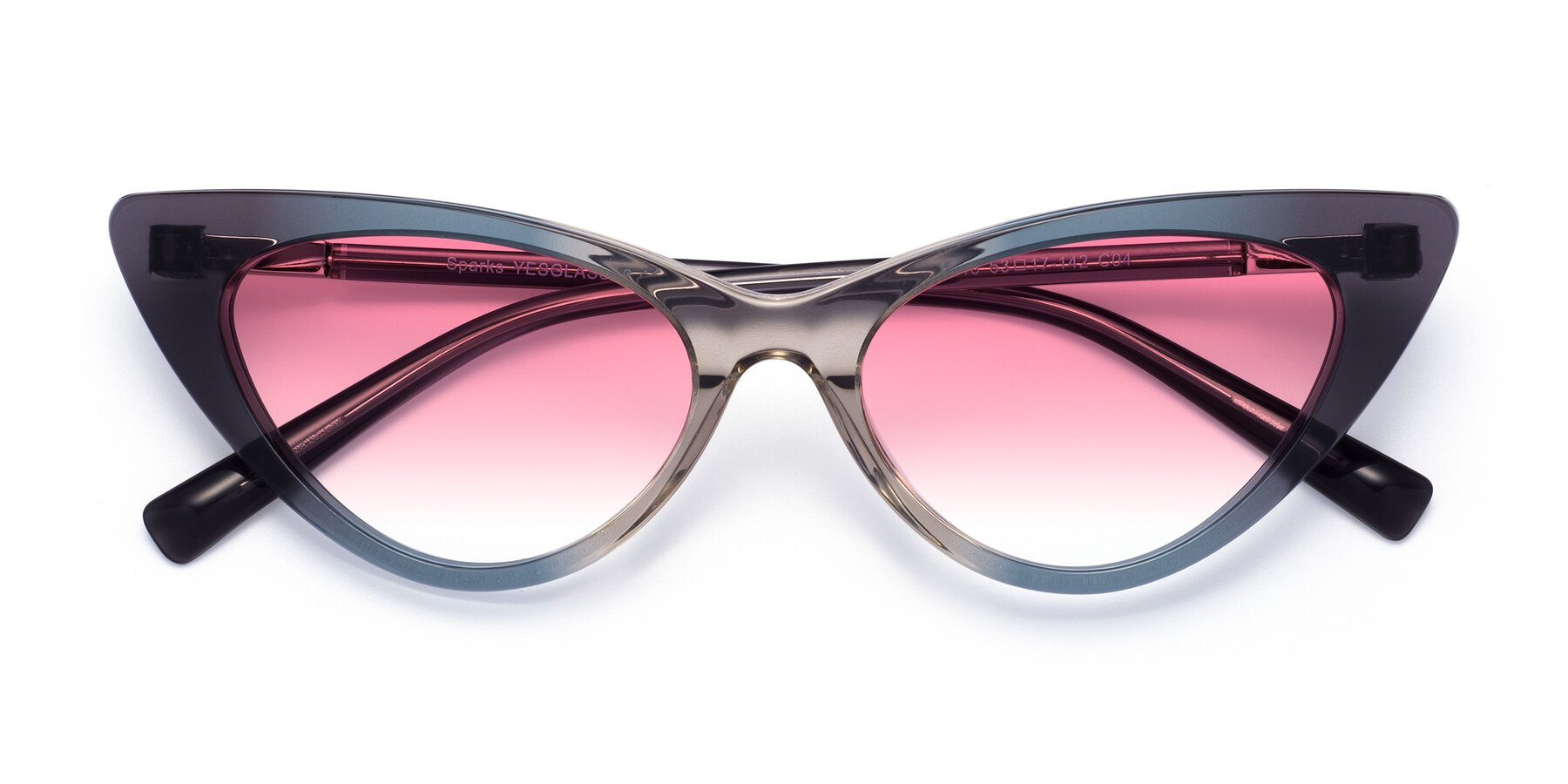 Folded Front of Sparks in Transparent Gradient Cyan with Pink Gradient Lenses