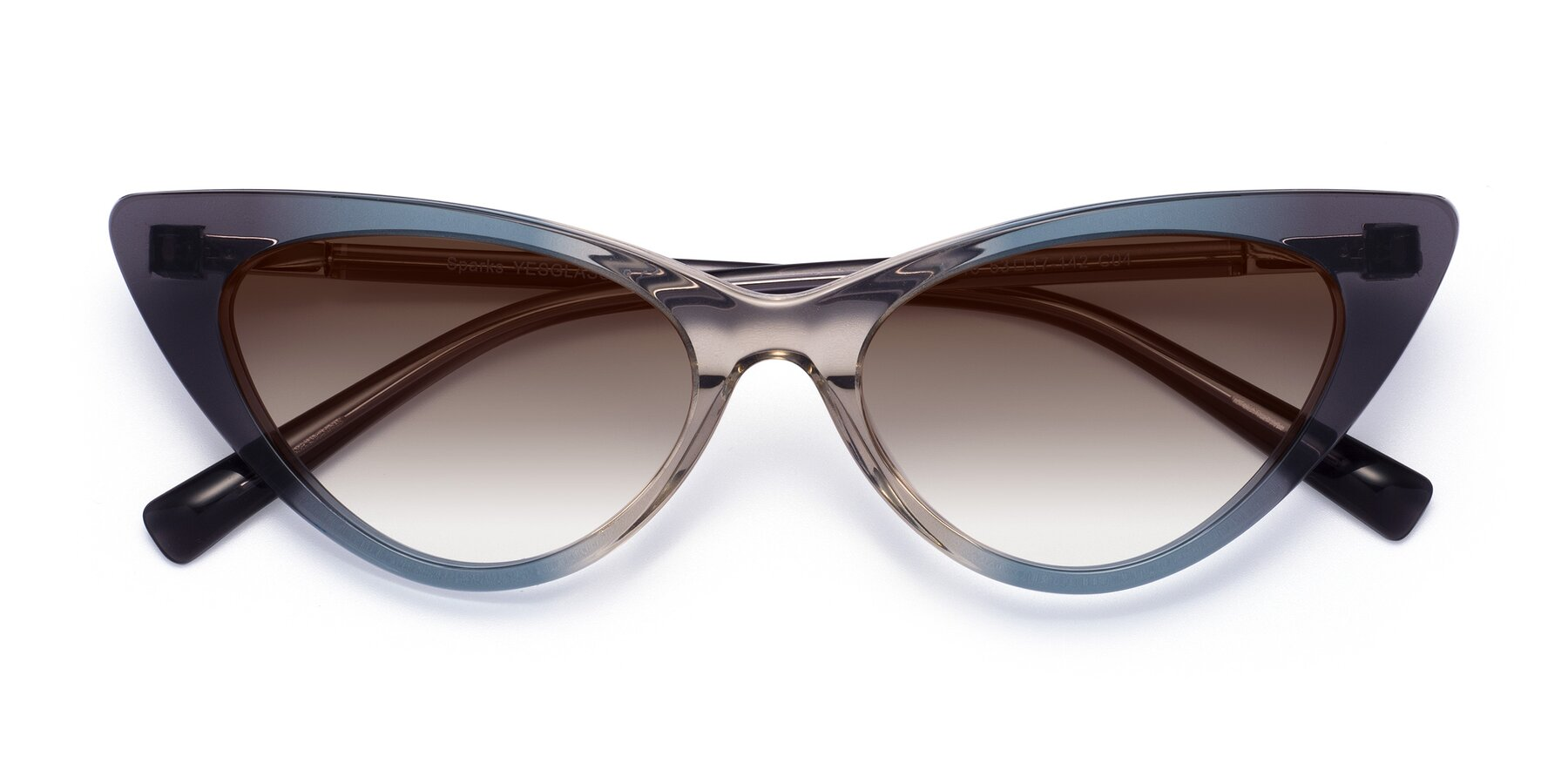Folded Front of Sparks in Transparent Gradient Cyan with Brown Gradient Lenses