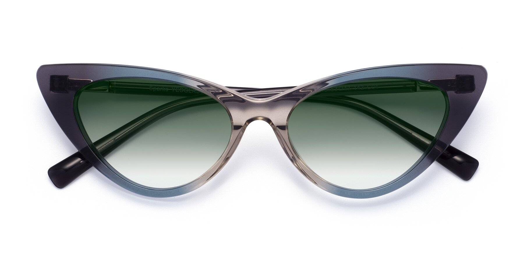 Folded Front of Sparks in Transparent Gradient Cyan with Green Gradient Lenses