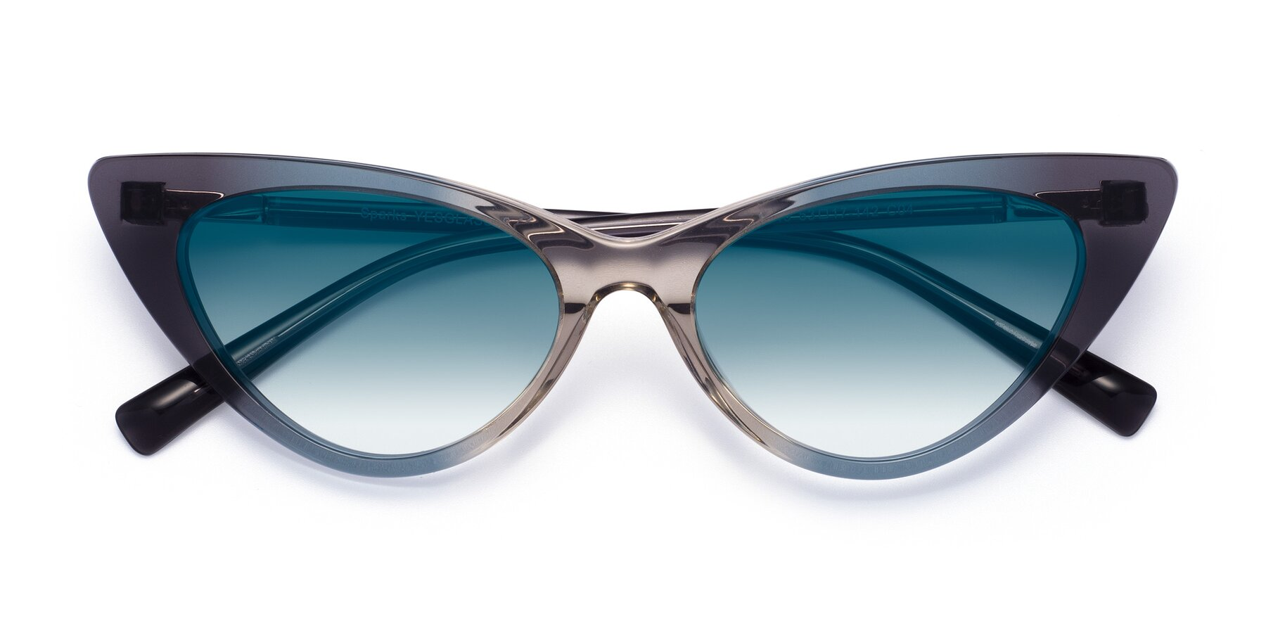 Folded Front of Sparks in Transparent Gradient Cyan with Blue Gradient Lenses