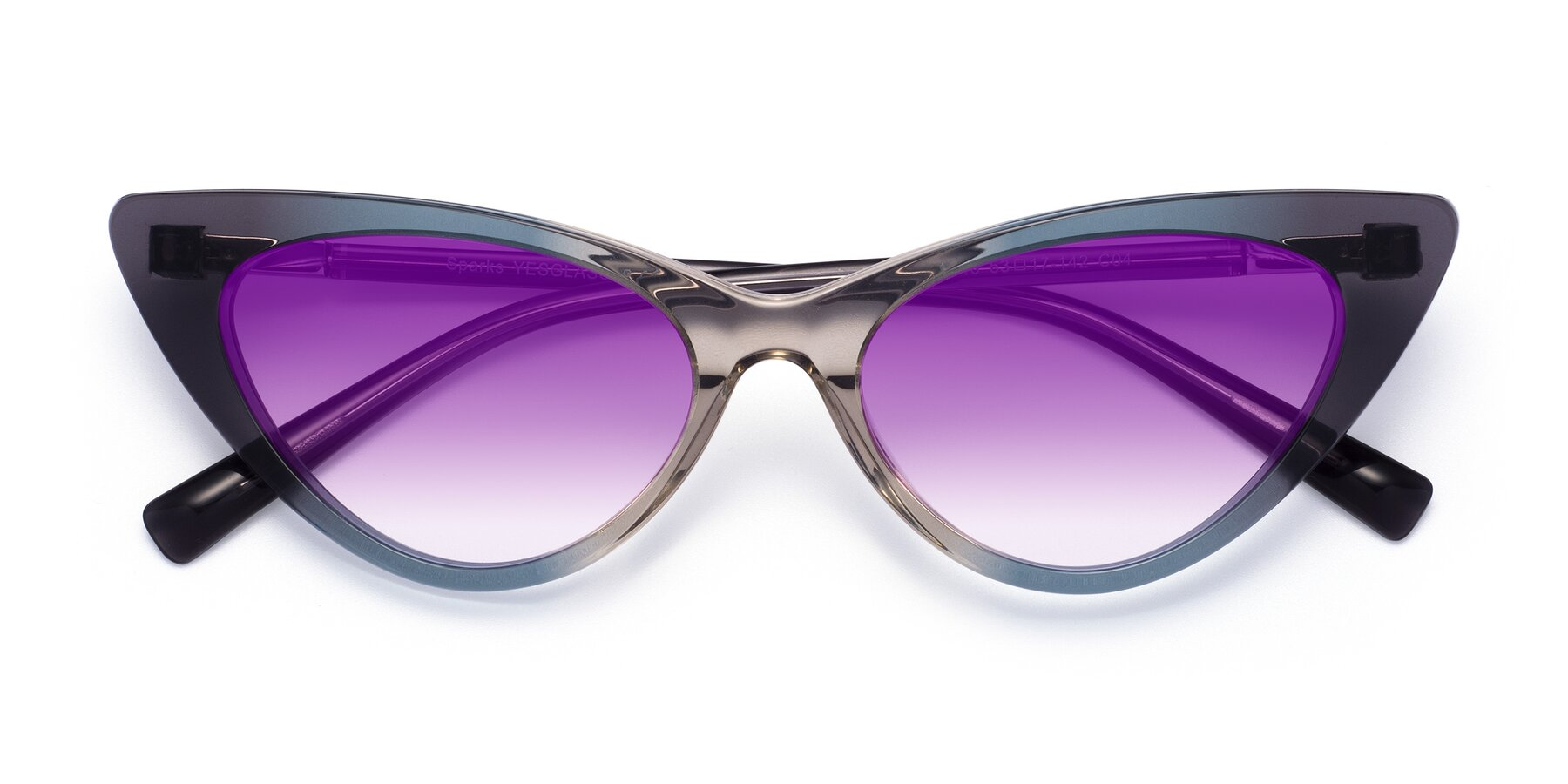 Folded Front of Sparks in Transparent Gradient Cyan with Purple Gradient Lenses