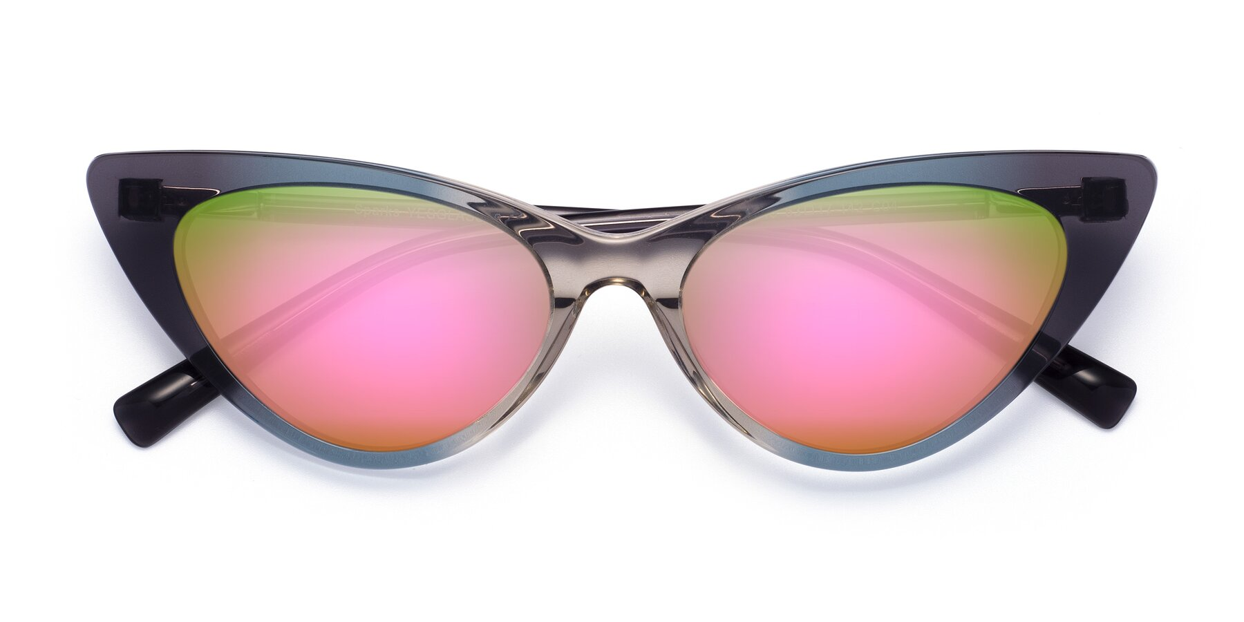 Folded Front of Sparks in Transparent Gradient Cyan with Pink Mirrored Lenses