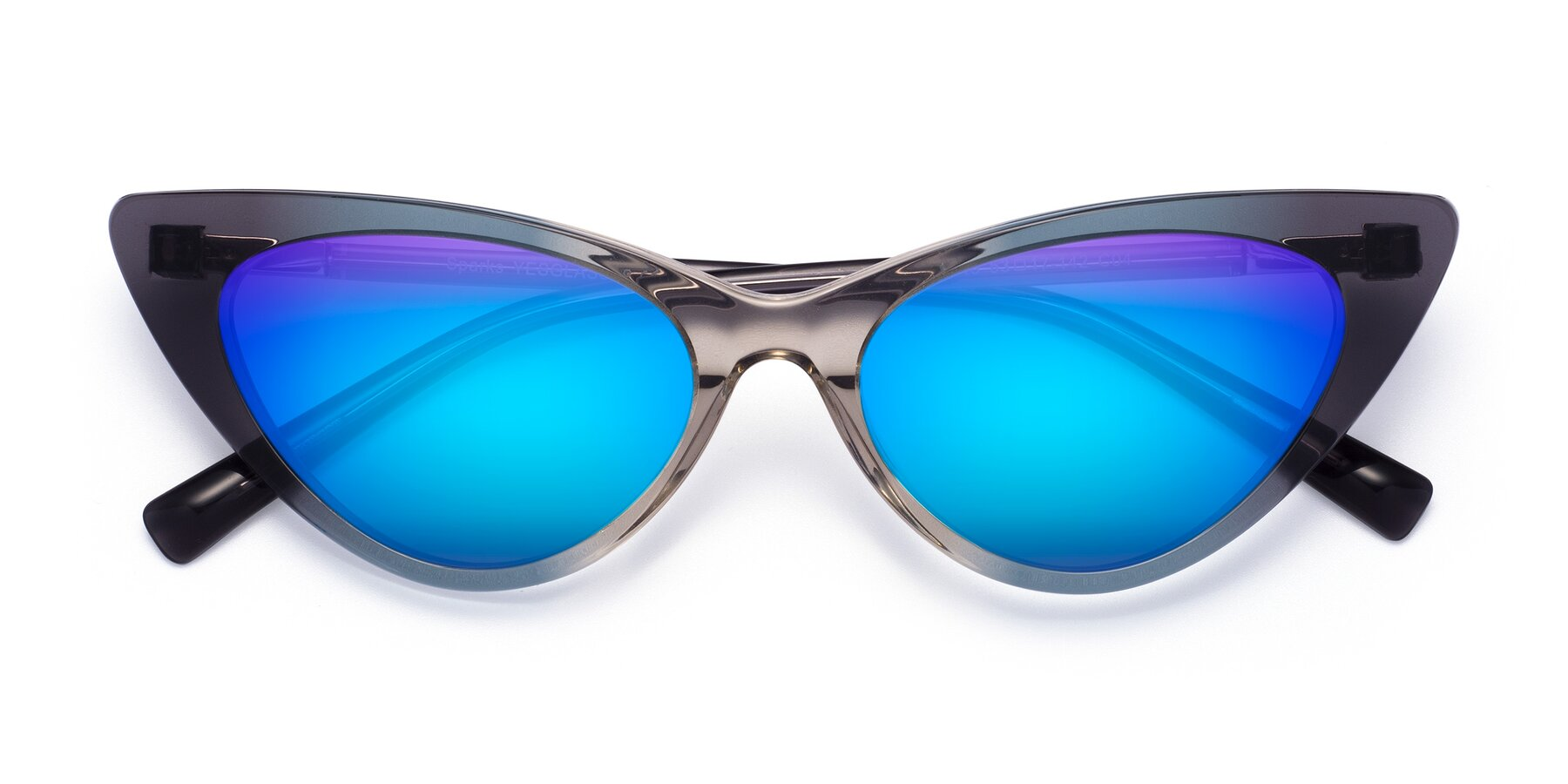 Folded Front of Sparks in Transparent Gradient Cyan with Blue Mirrored Lenses