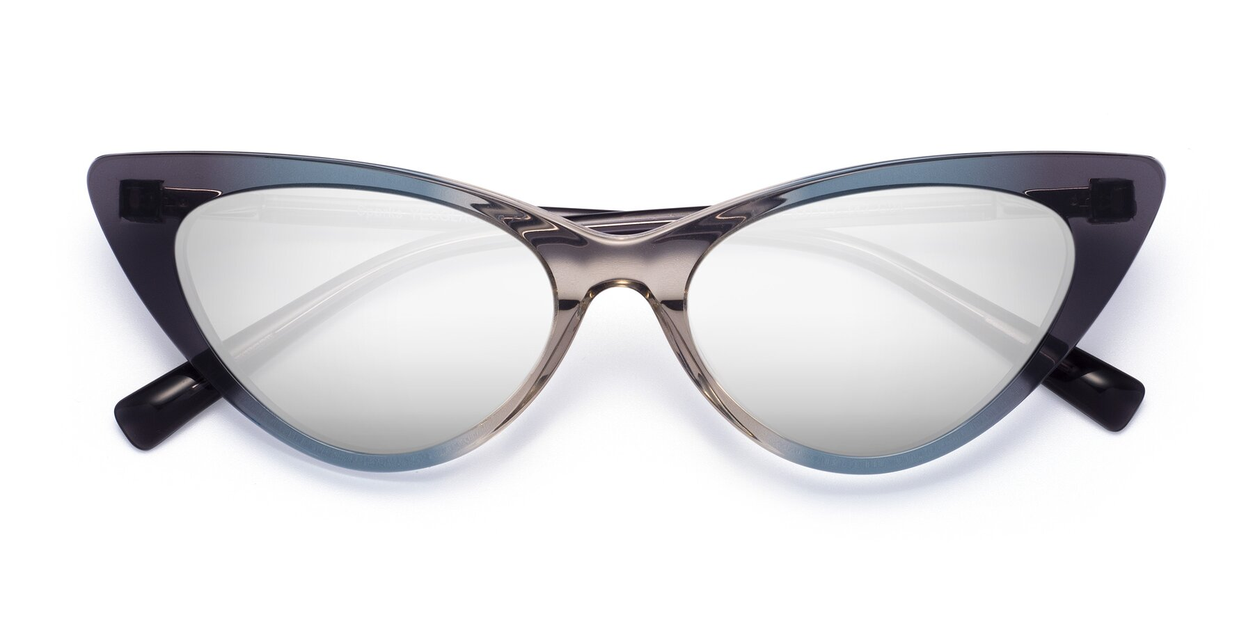 Folded Front of Sparks in Transparent Gradient Cyan with Silver Mirrored Lenses