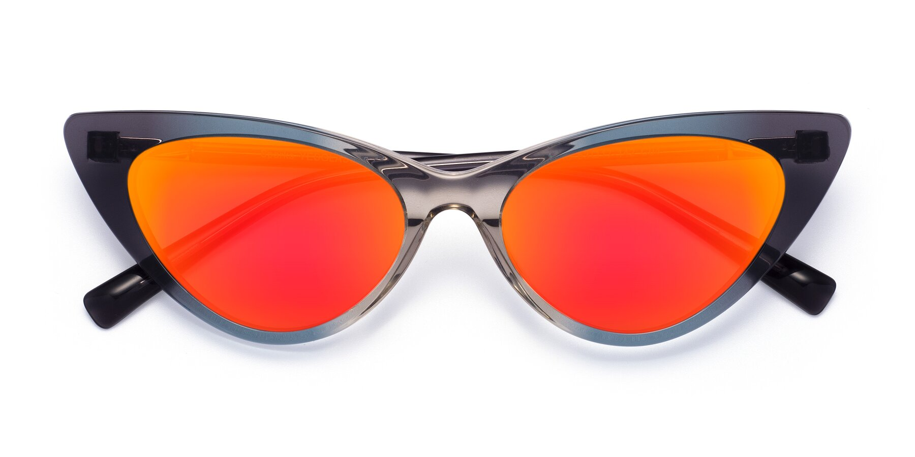 Folded Front of Sparks in Transparent Gradient Cyan with Red Gold Mirrored Lenses