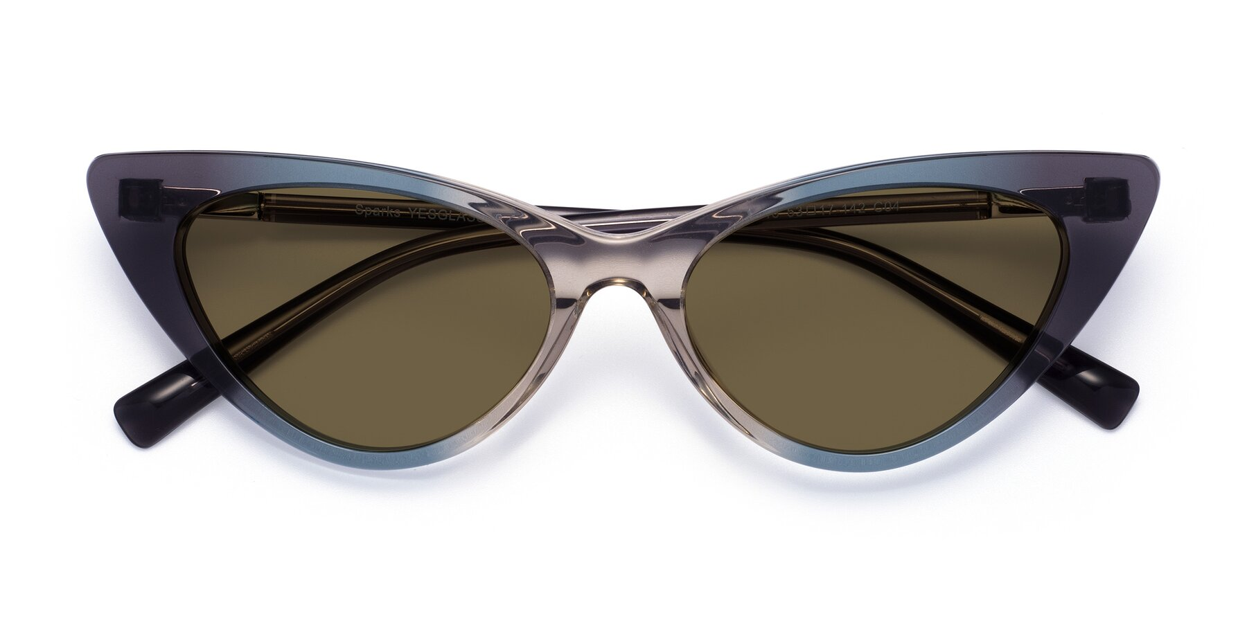 Folded Front of Sparks in Transparent Gradient Cyan with Brown Polarized Lenses