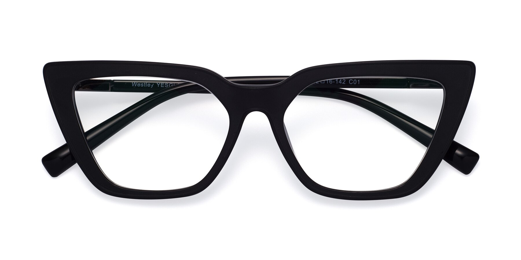 Folded Front of Westley in Matte Black with Clear Eyeglass Lenses