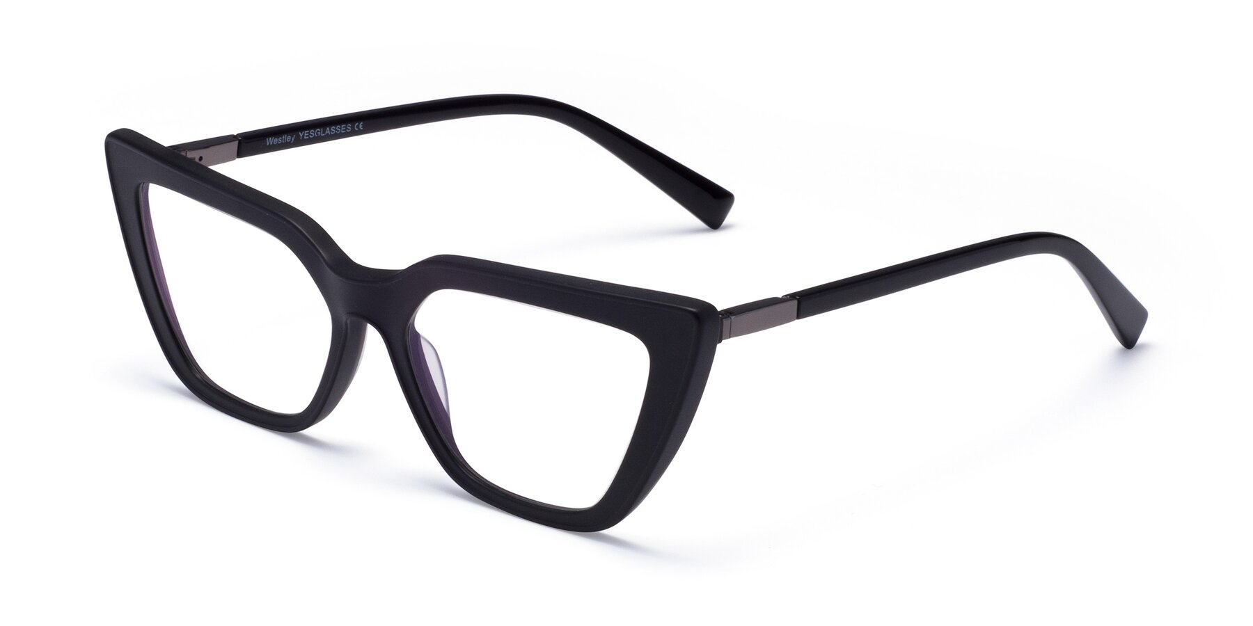Angle of Westley in Matte Black with Clear Eyeglass Lenses