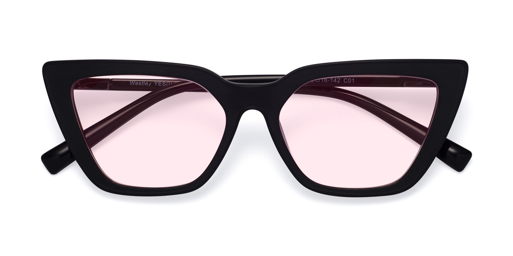 Folded Front of Westley in Matte Black with Light Pink Tinted Lenses