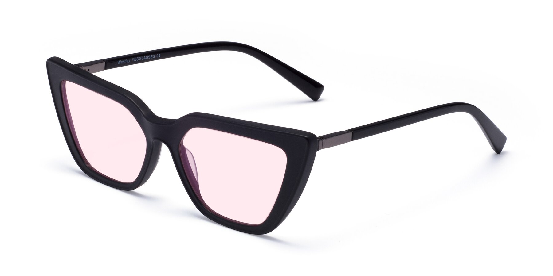 Angle of Westley in Matte Black with Light Pink Tinted Lenses