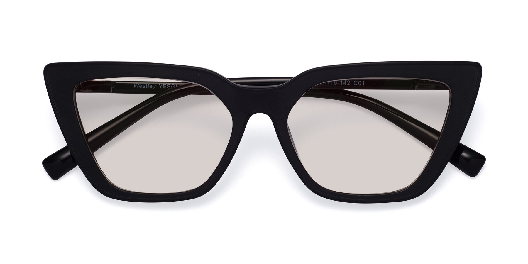 Folded Front of Westley in Matte Black with Light Brown Tinted Lenses