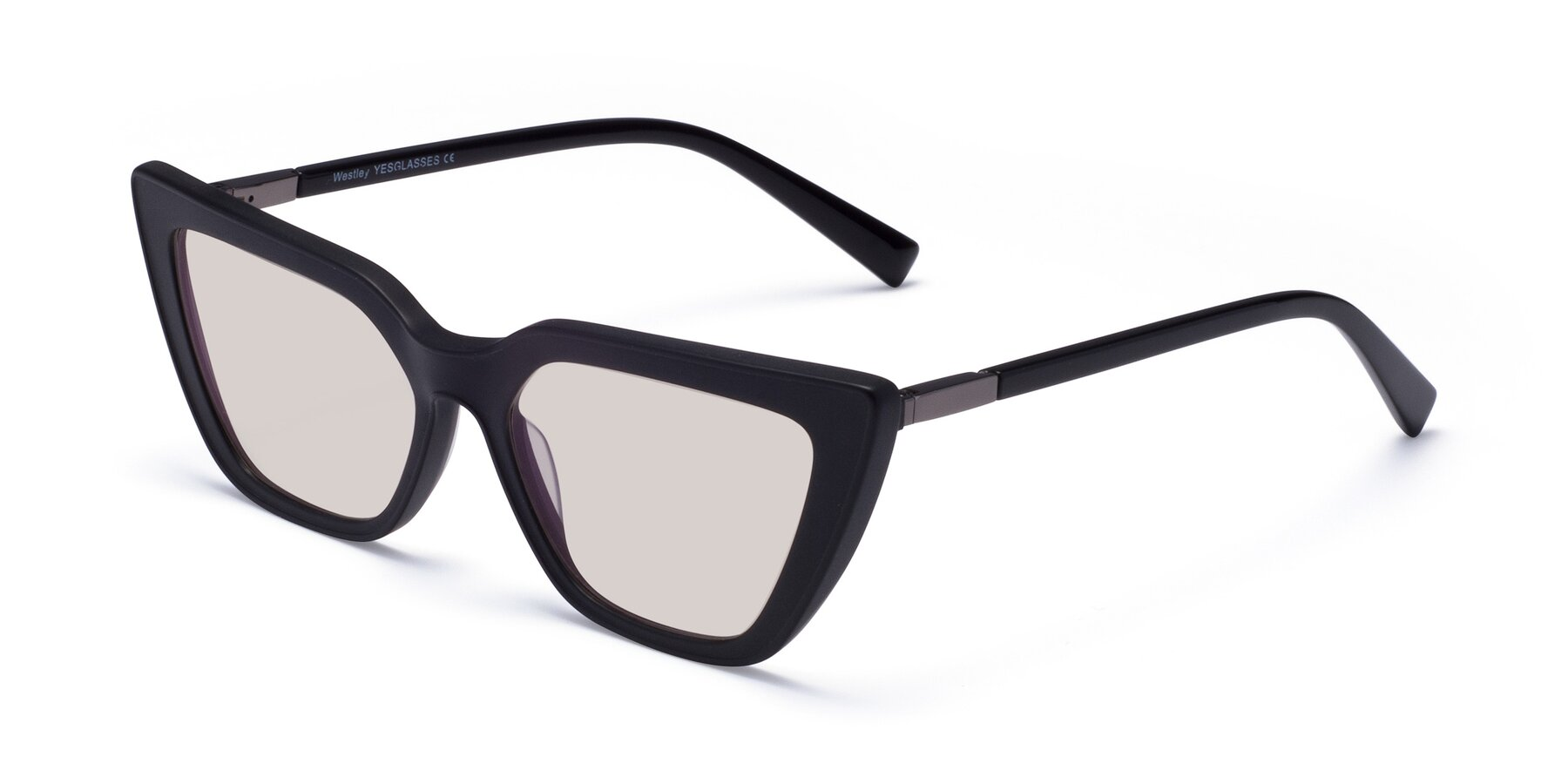 Angle of Westley in Matte Black with Light Brown Tinted Lenses