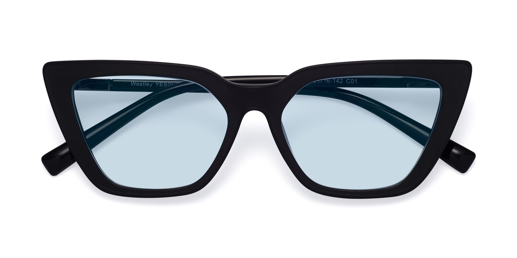 Folded Front of Westley in Matte Black with Light Blue Tinted Lenses
