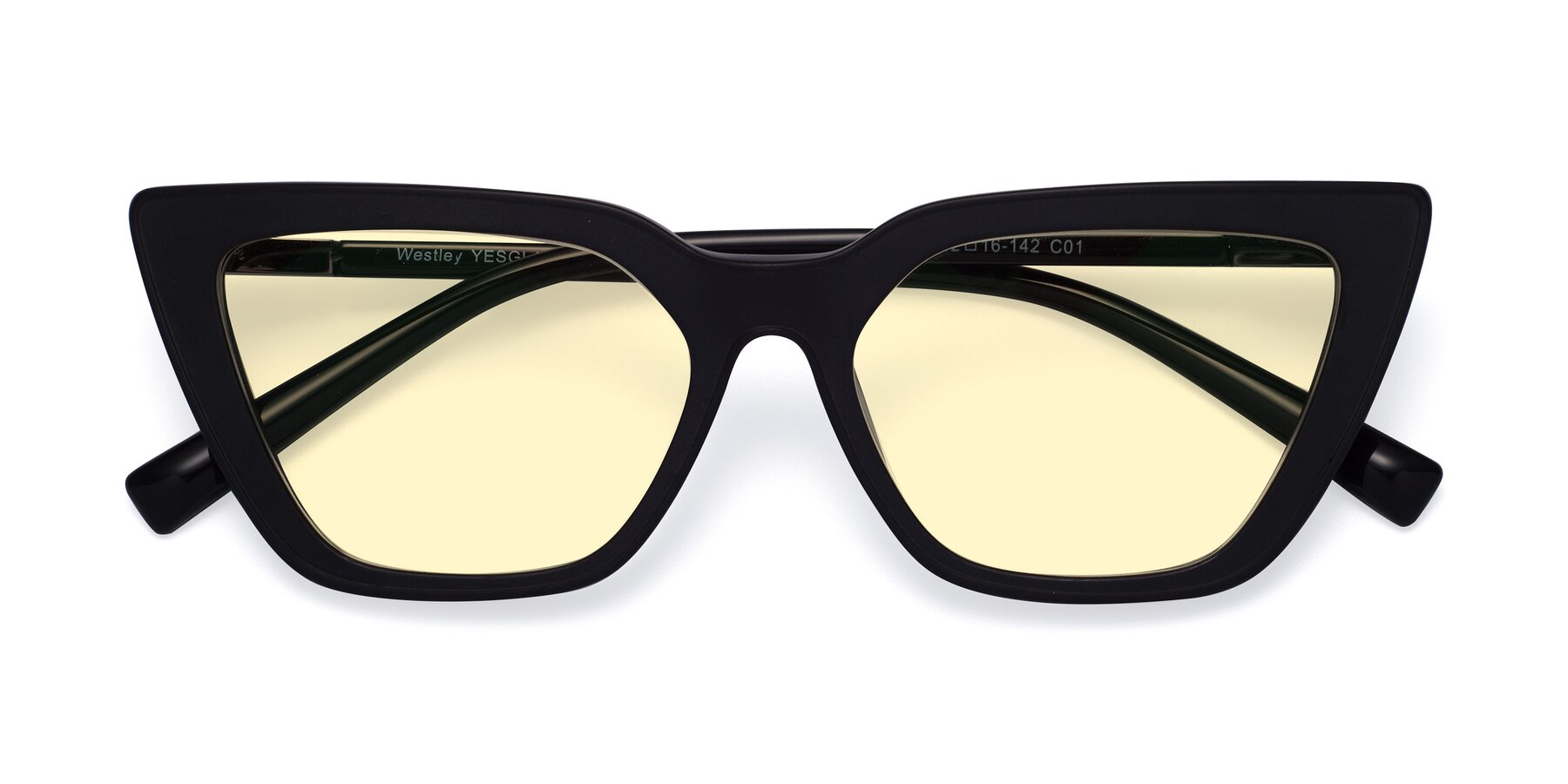 Folded Front of Westley in Matte Black with Light Yellow Tinted Lenses