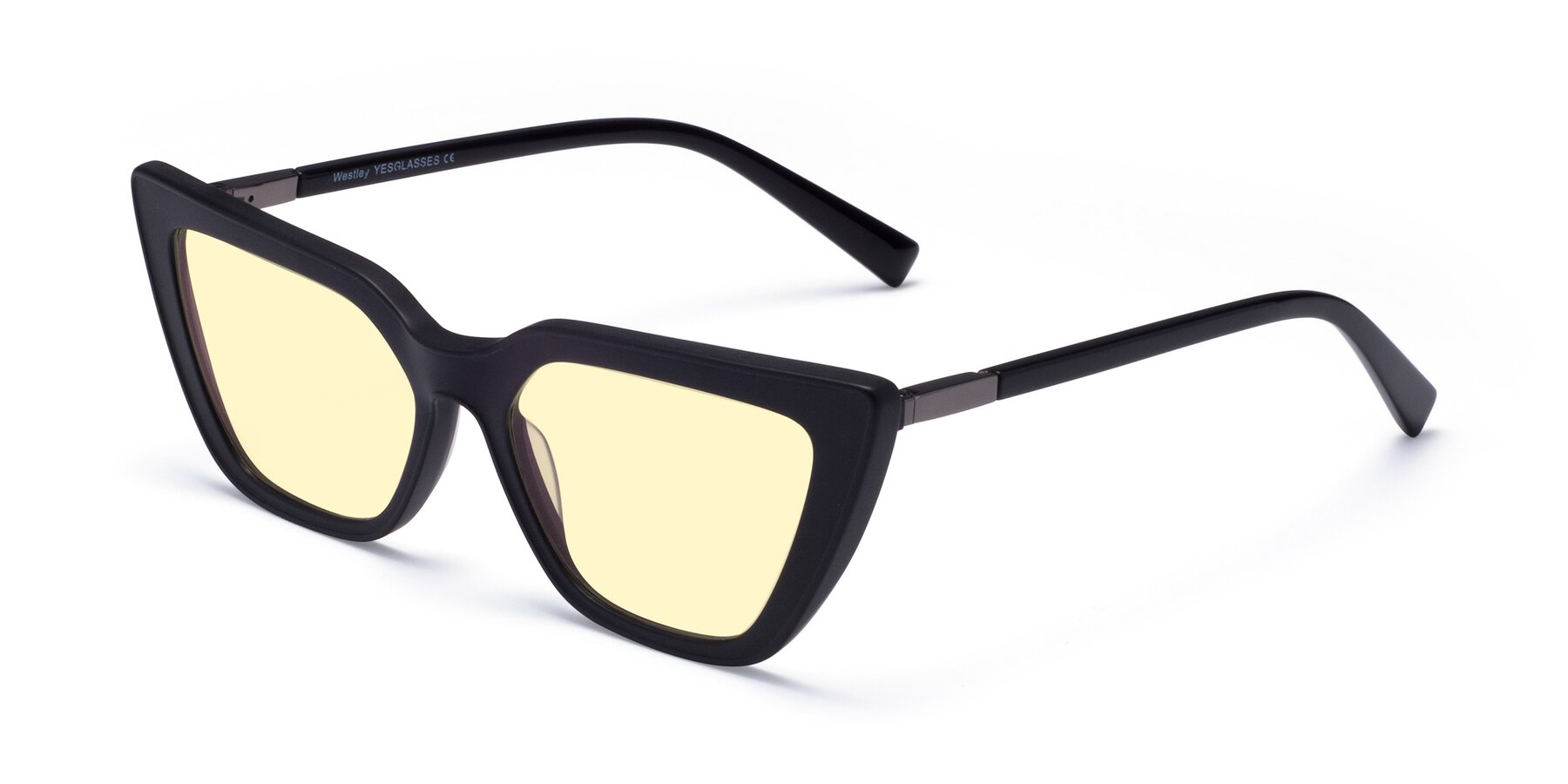Angle of Westley in Matte Black with Light Yellow Tinted Lenses