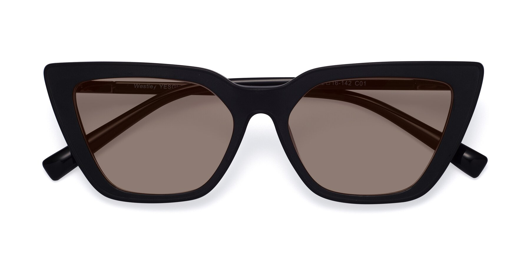 Folded Front of Westley in Matte Black with Medium Brown Tinted Lenses