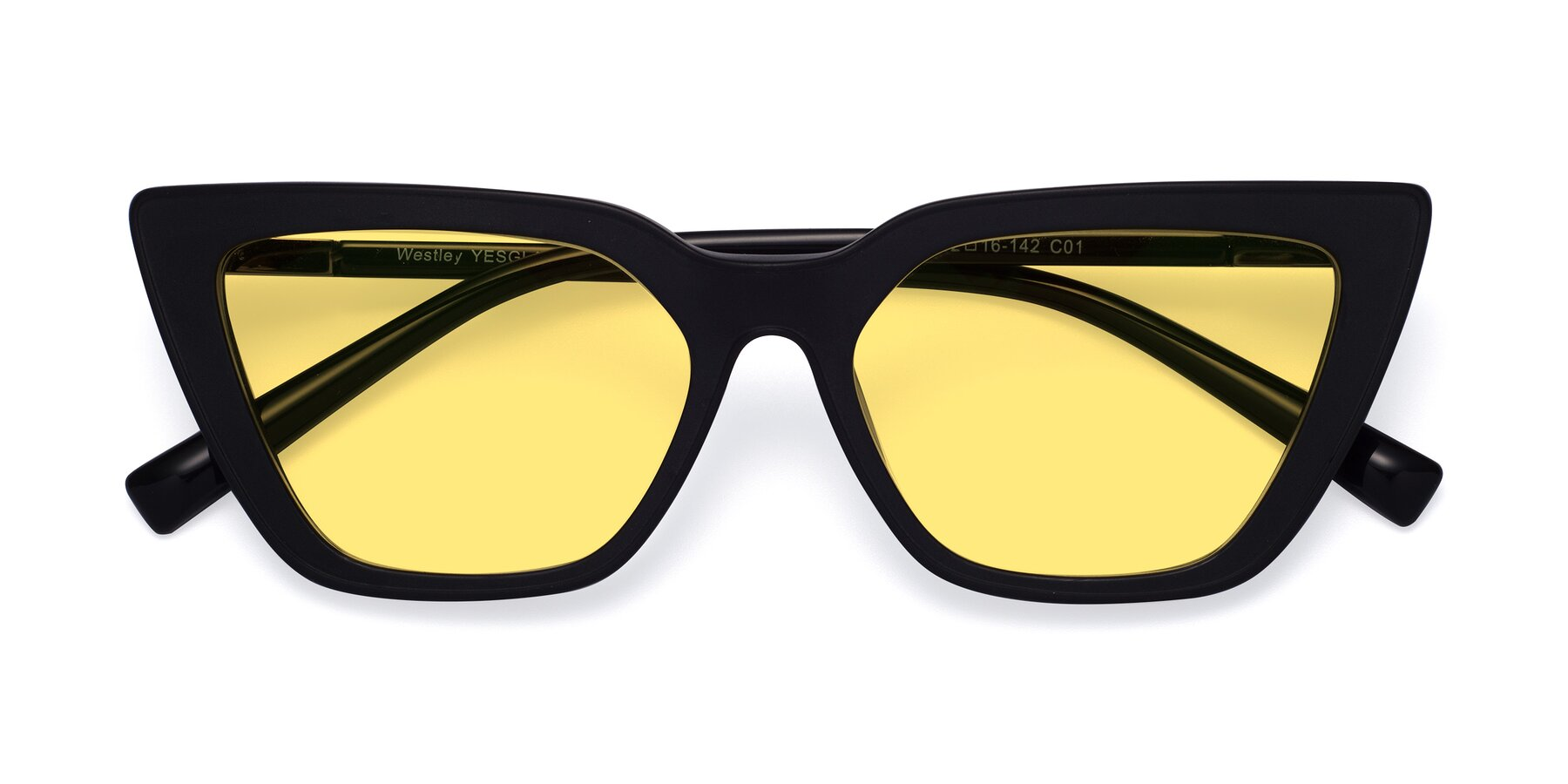 Folded Front of Westley in Matte Black with Medium Yellow Tinted Lenses