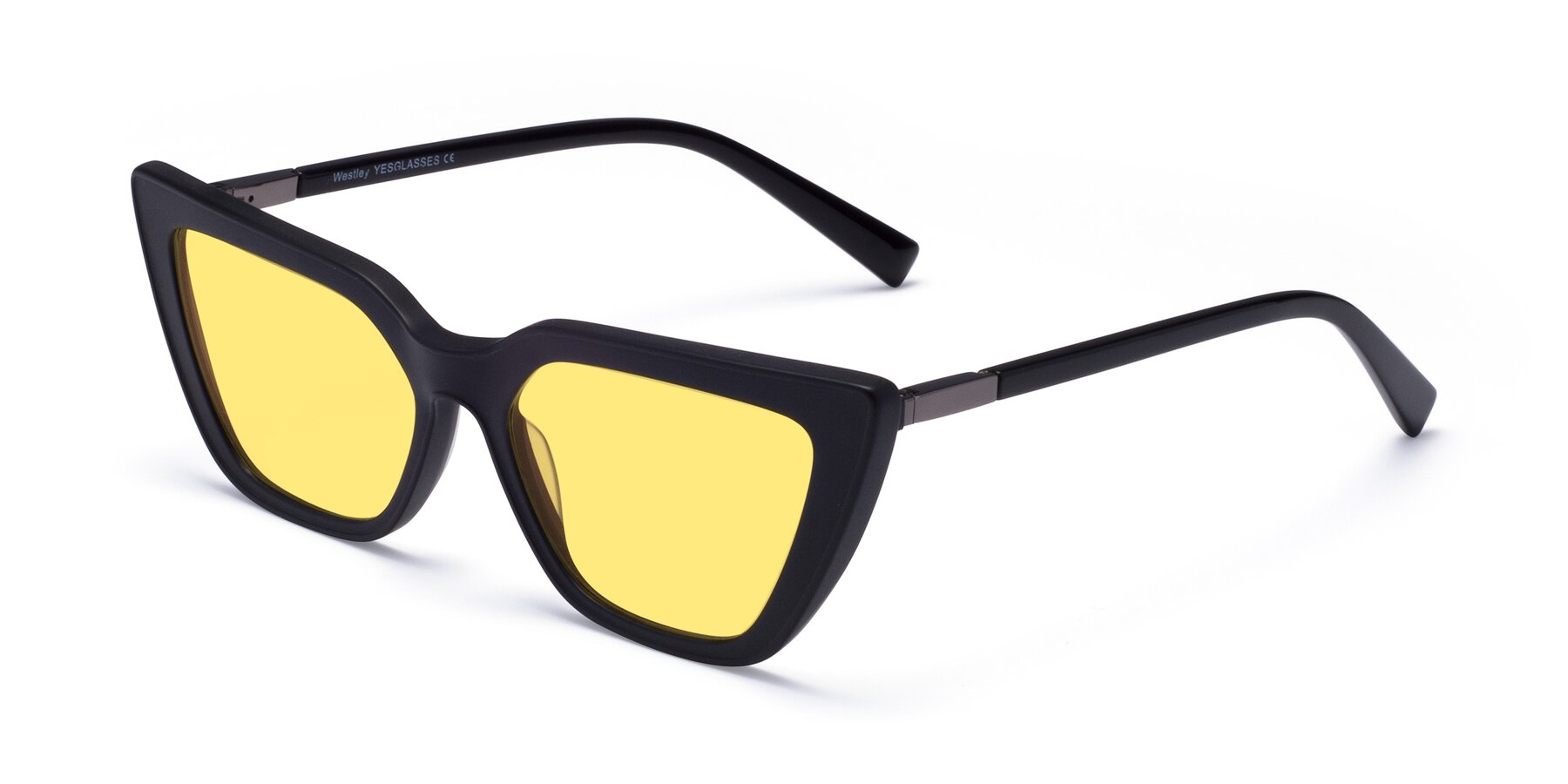 Angle of Westley in Matte Black with Medium Yellow Tinted Lenses