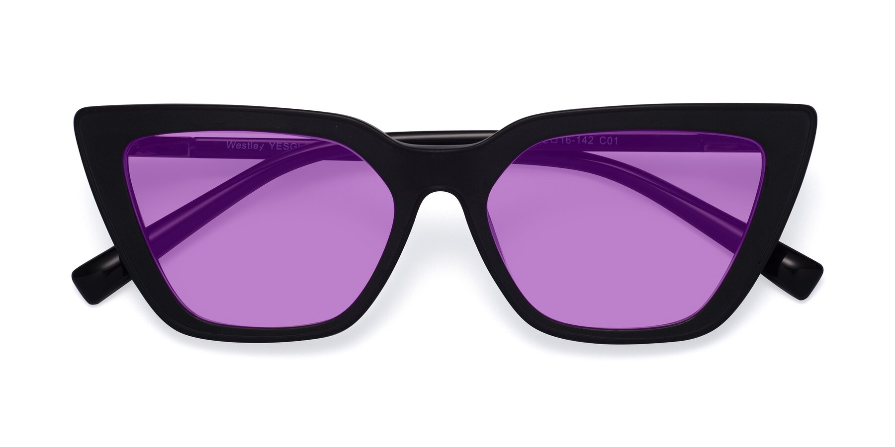 Folded Front of Westley in Matte Black with Medium Purple Tinted Lenses