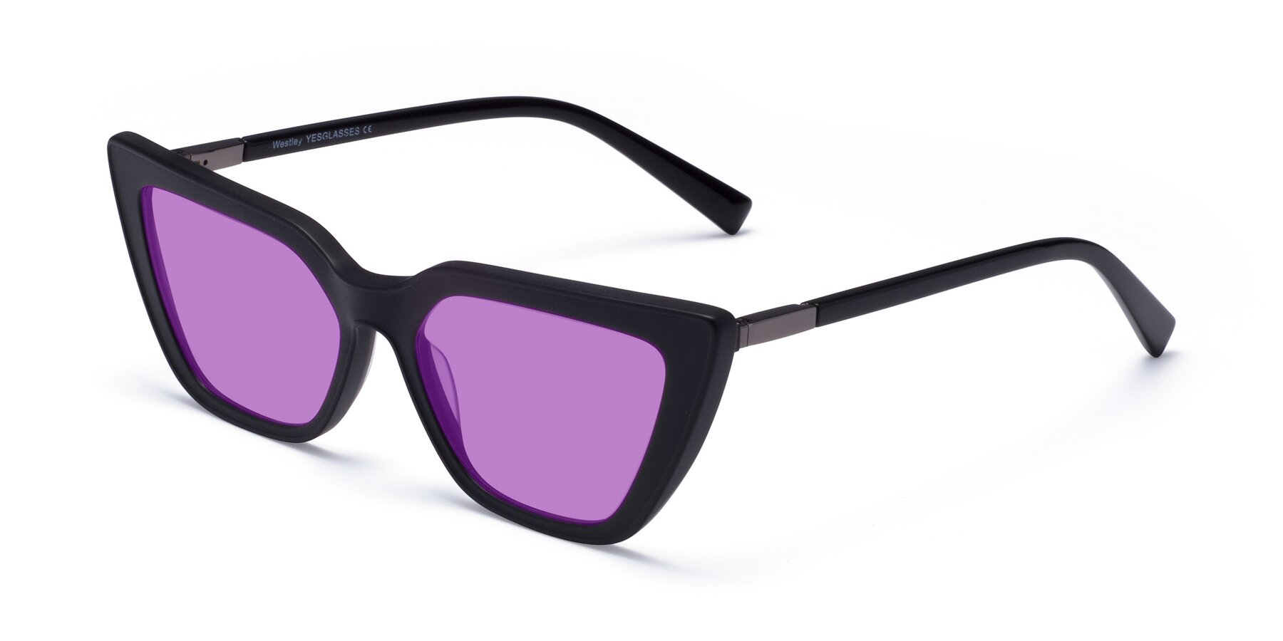 Angle of Westley in Matte Black with Medium Purple Tinted Lenses