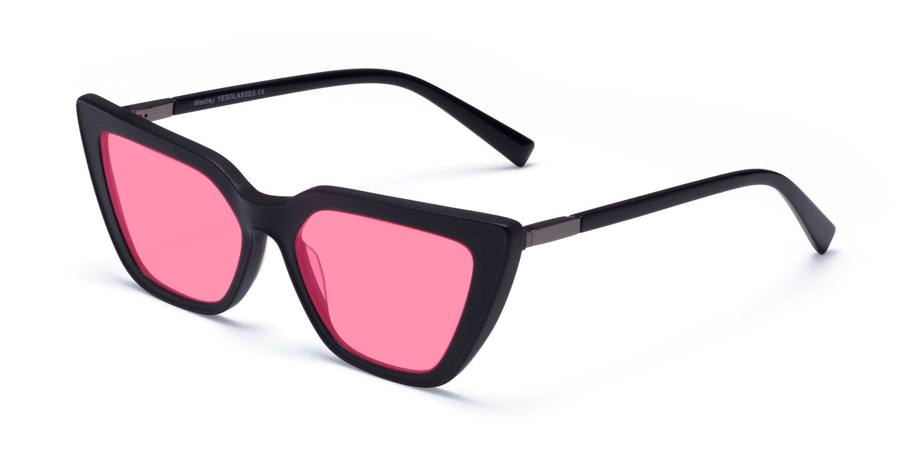 Angle of Westley in Matte Black with Pink Tinted Lenses