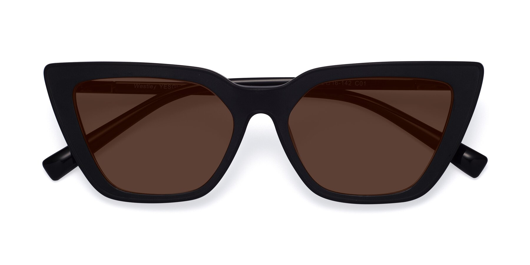 Folded Front of Westley in Matte Black with Brown Tinted Lenses