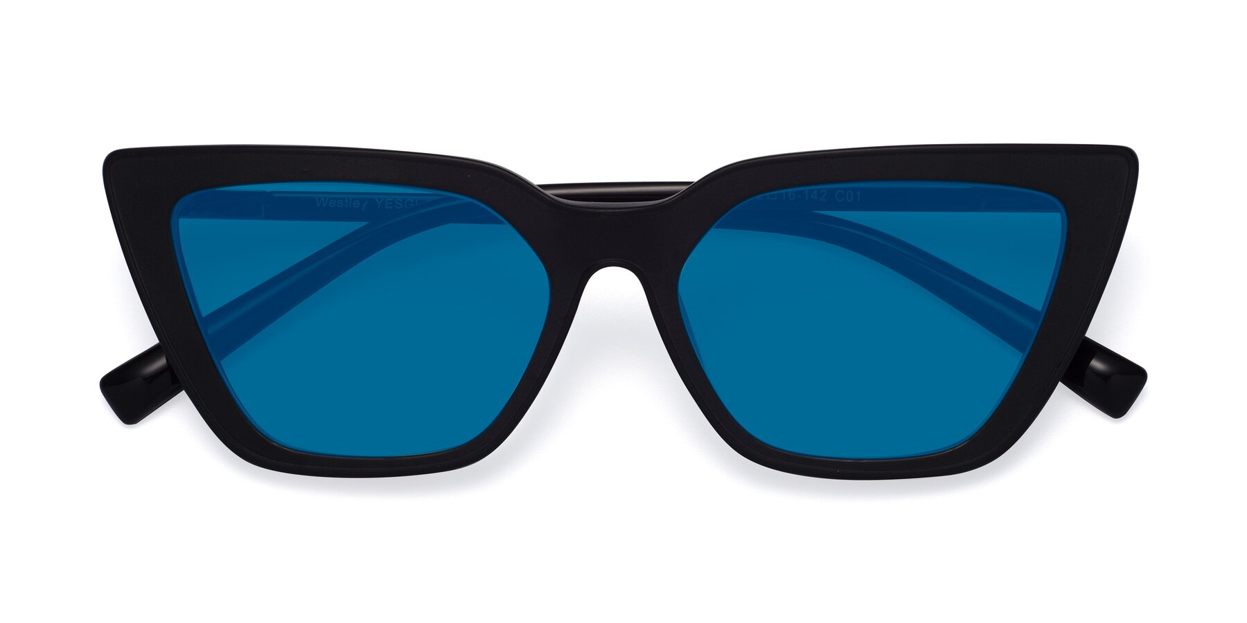 Folded Front of Westley in Matte Black with Blue Tinted Lenses