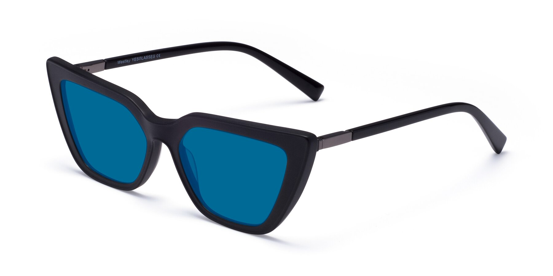 Angle of Westley in Matte Black with Blue Tinted Lenses