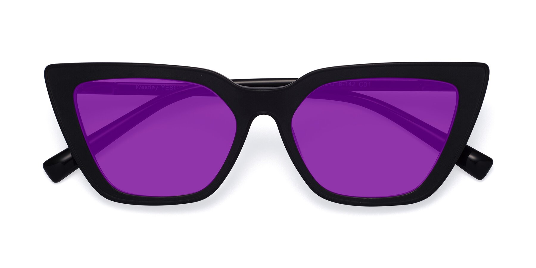 Folded Front of Westley in Matte Black with Purple Tinted Lenses