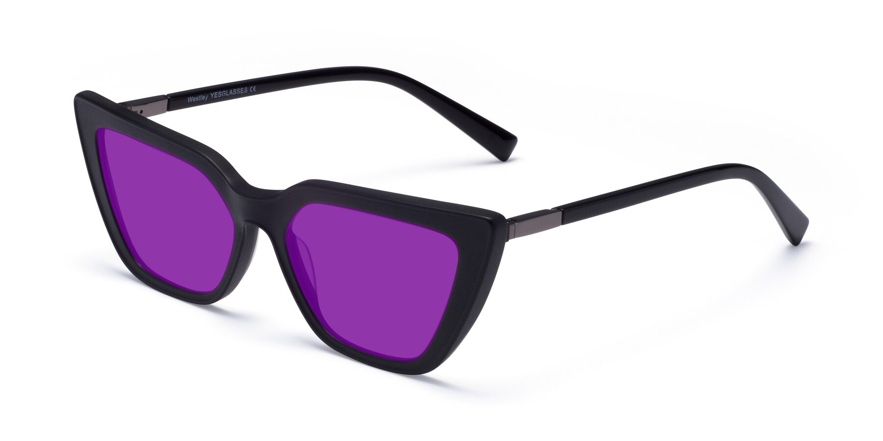 Angle of Westley in Matte Black with Purple Tinted Lenses