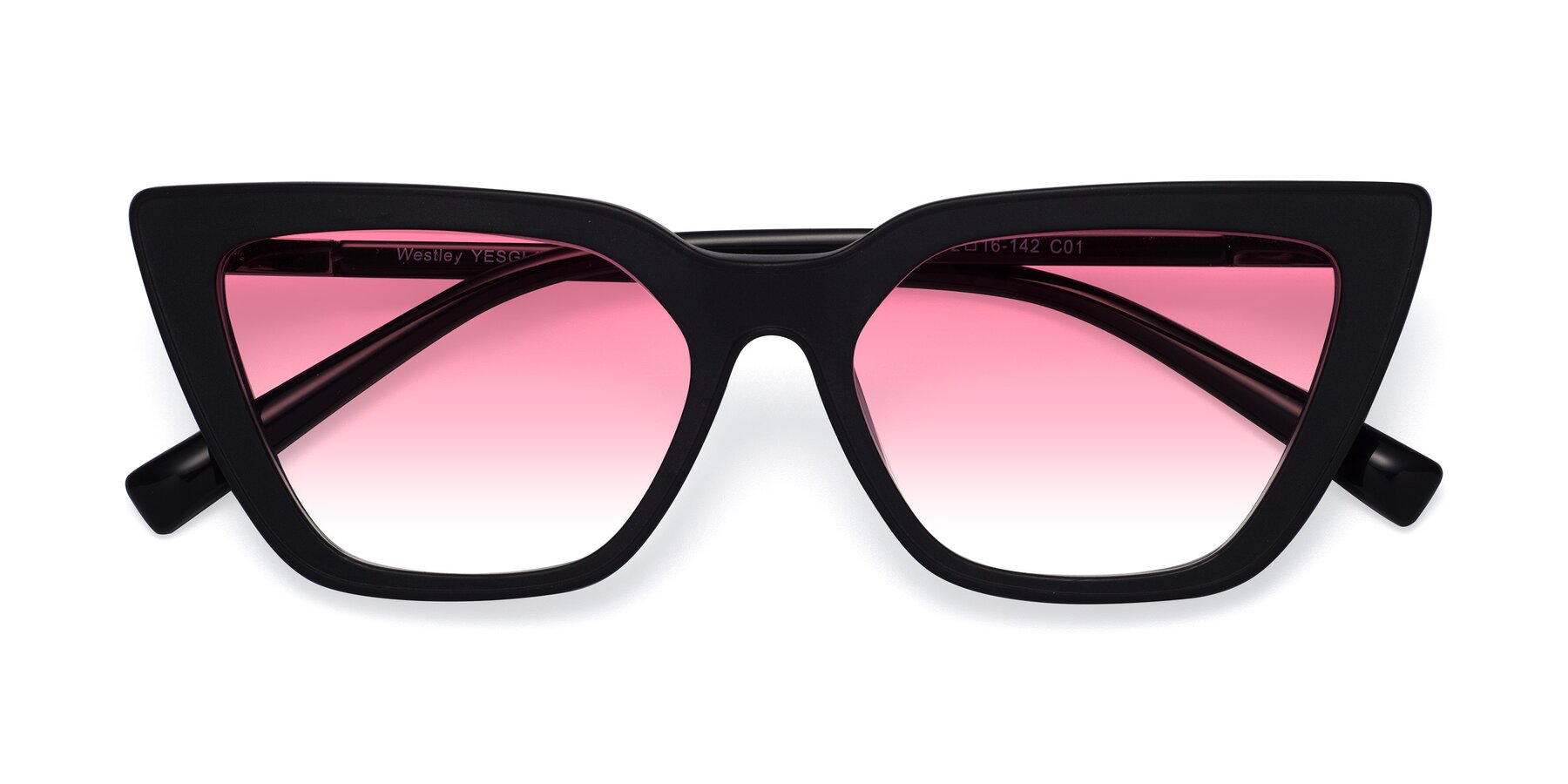 Folded Front of Westley in Matte Black with Pink Gradient Lenses
