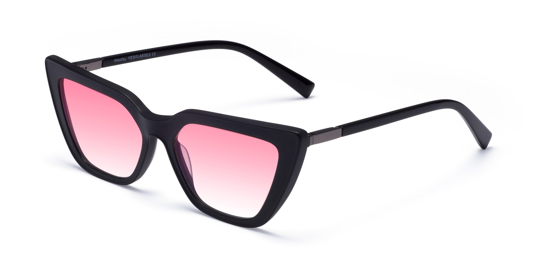 Angle of Westley in Matte Black with Pink Gradient Lenses
