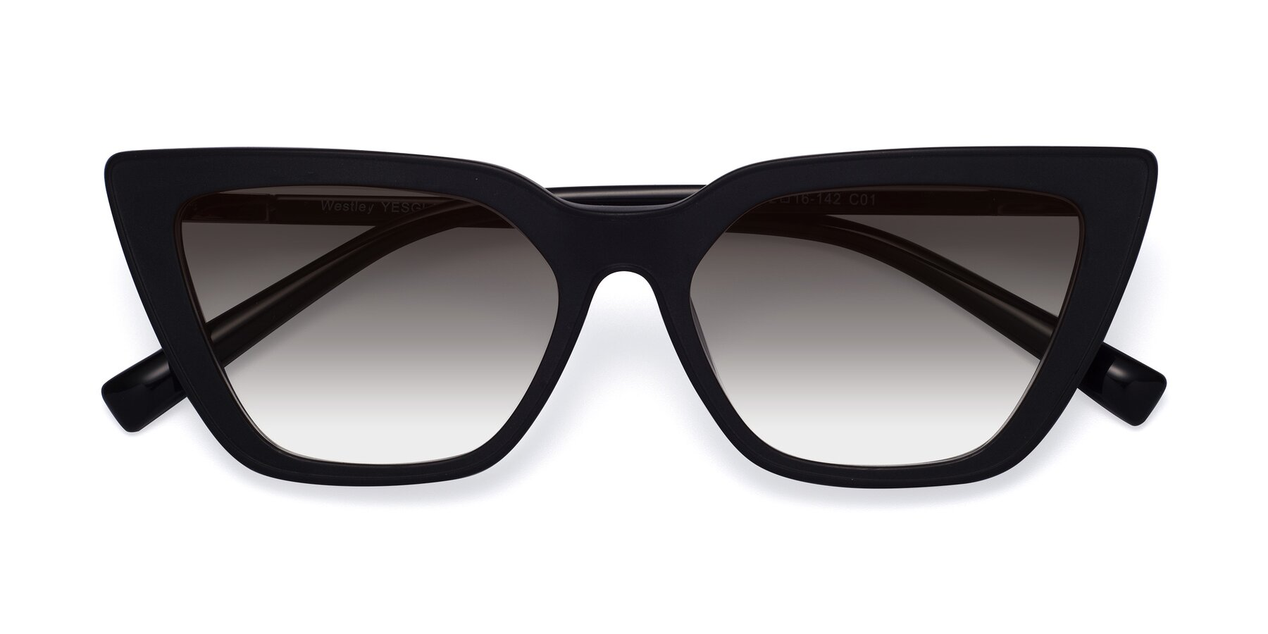 Folded Front of Westley in Matte Black with Gray Gradient Lenses