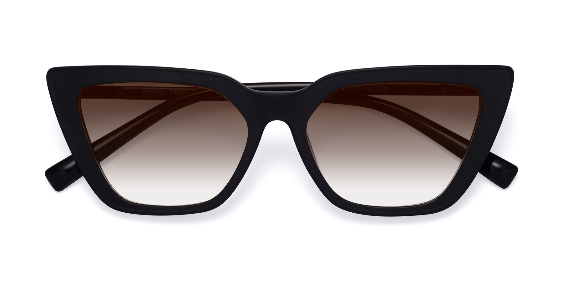 Folded Front of Westley in Matte Black with Brown Gradient Lenses