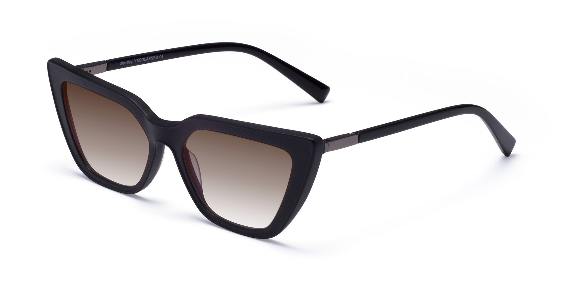 Angle of Westley in Matte Black with Brown Gradient Lenses