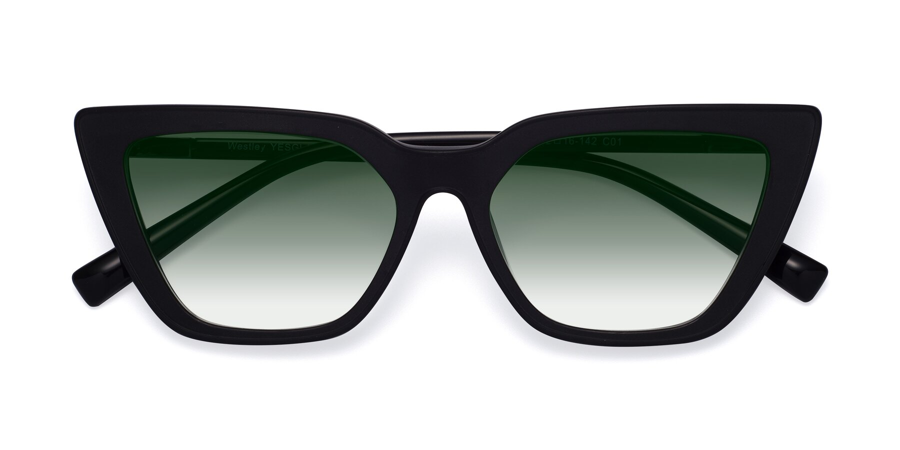 Folded Front of Westley in Matte Black with Green Gradient Lenses