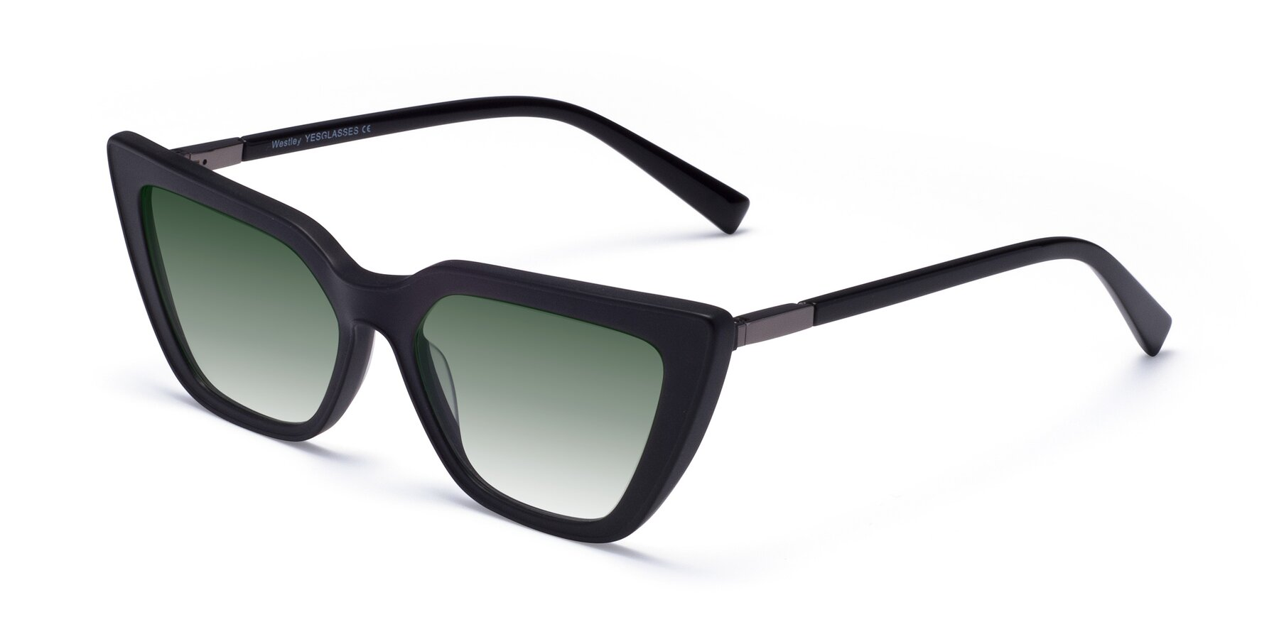 Angle of Westley in Matte Black with Green Gradient Lenses