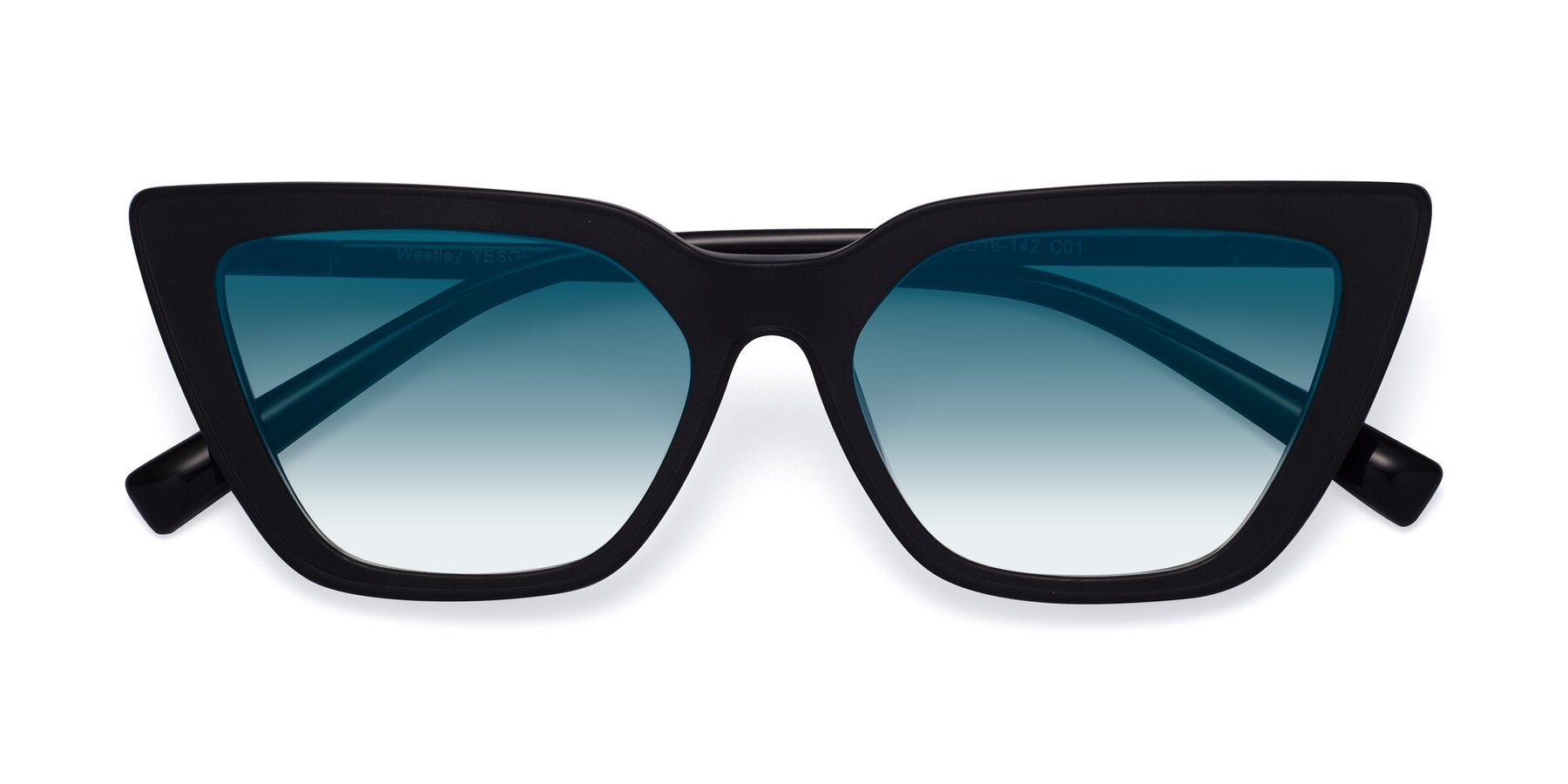 Folded Front of Westley in Matte Black with Blue Gradient Lenses
