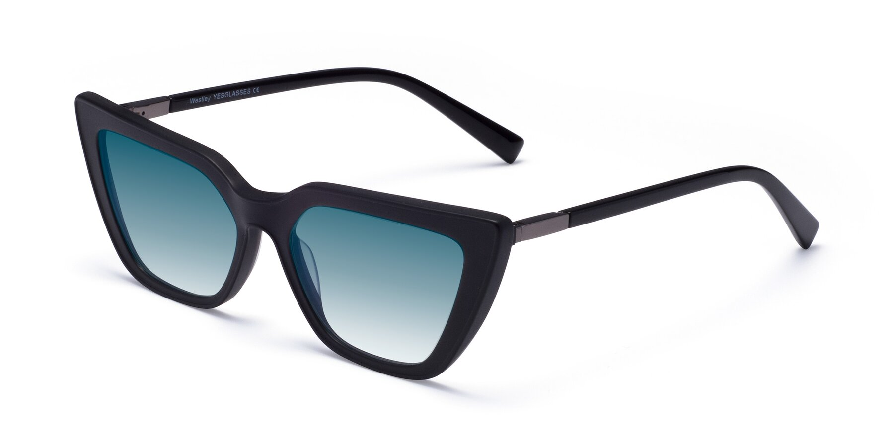 Angle of Westley in Matte Black with Blue Gradient Lenses