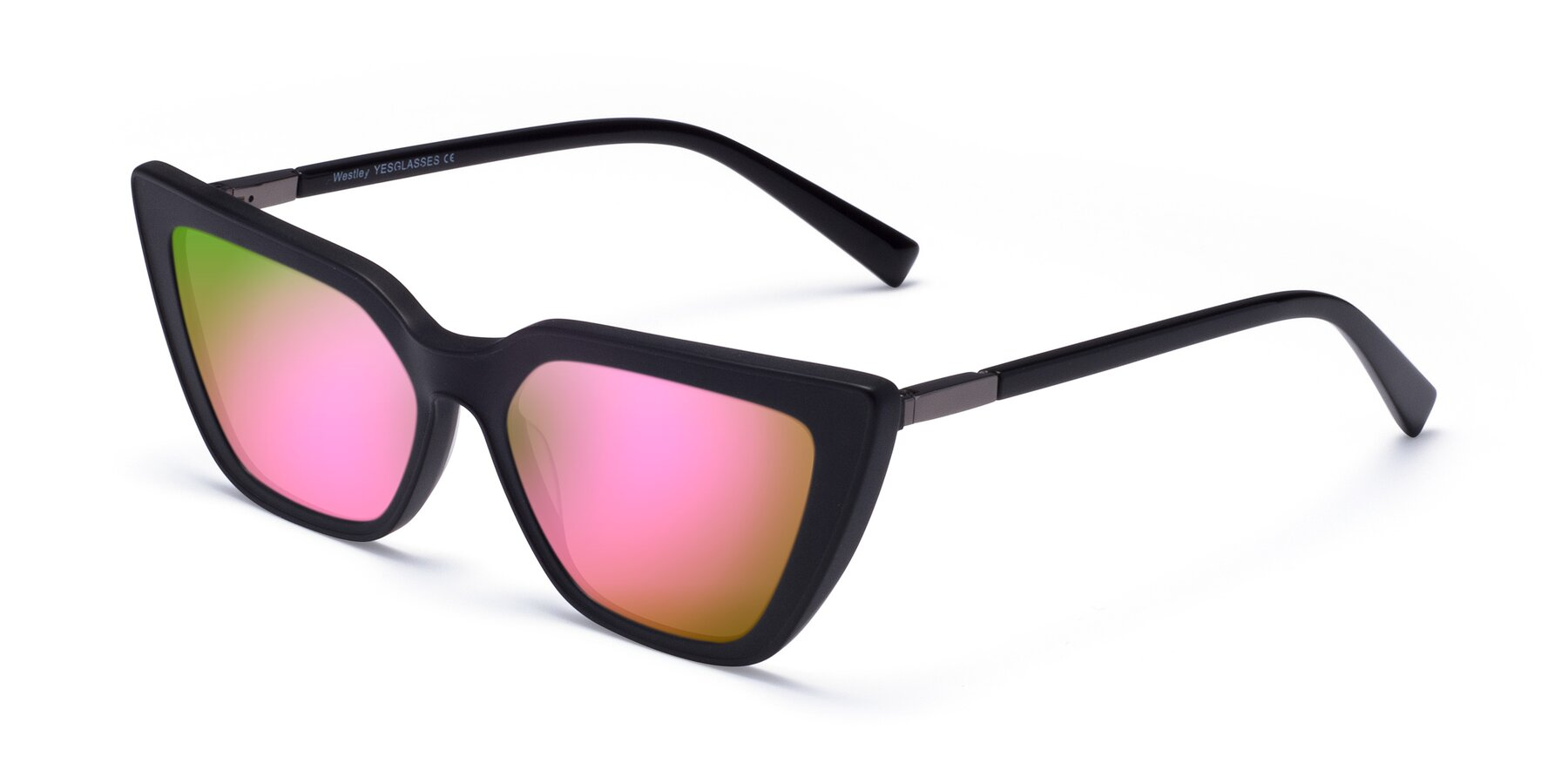 Angle of Westley in Matte Black with Pink Mirrored Lenses