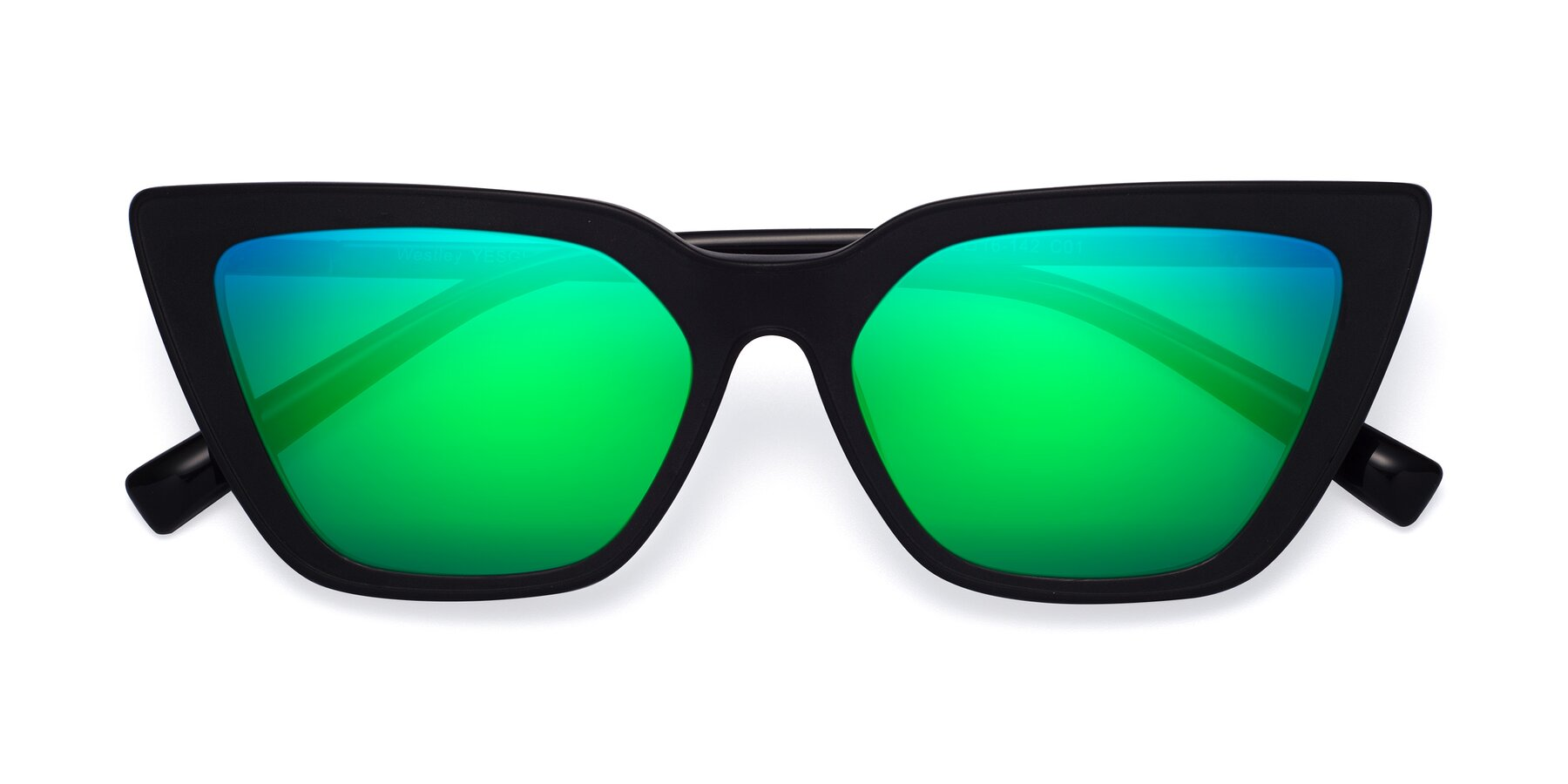 Folded Front of Westley in Matte Black with Green Mirrored Lenses