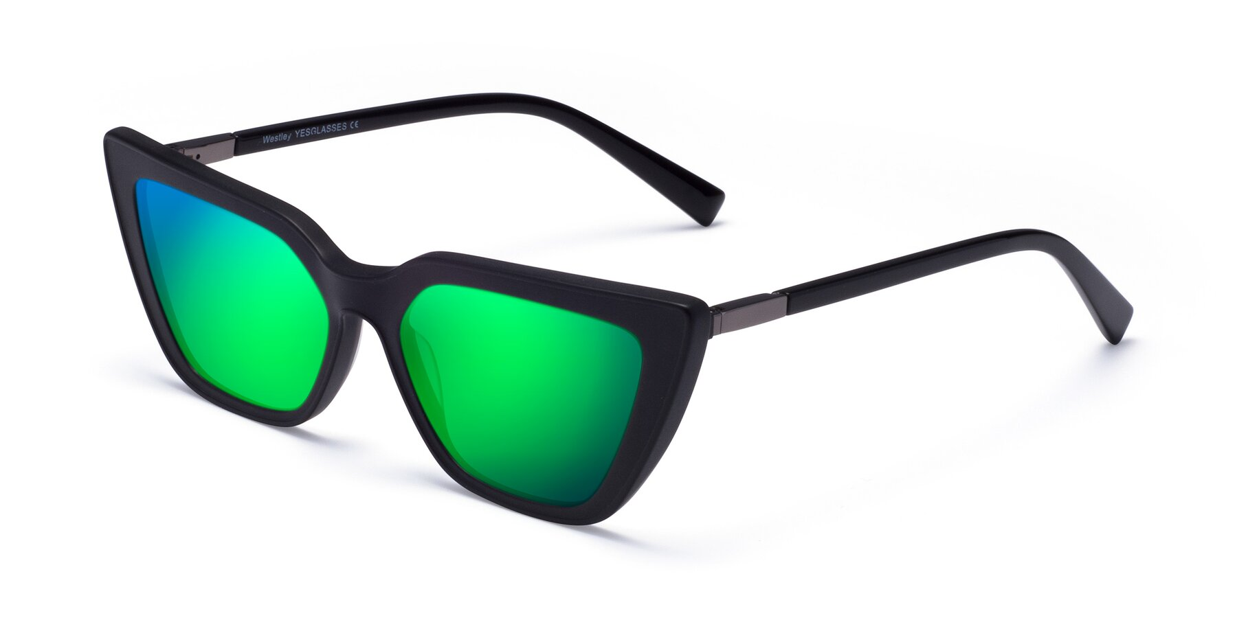 Angle of Westley in Matte Black with Green Mirrored Lenses