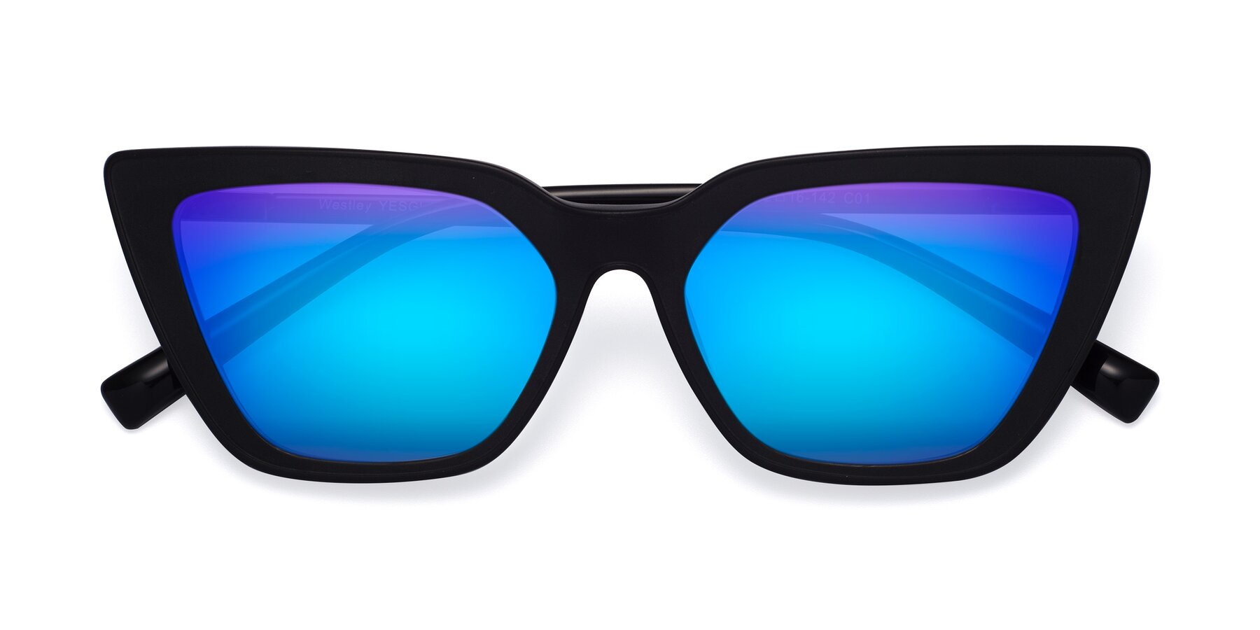 Folded Front of Westley in Matte Black with Blue Mirrored Lenses