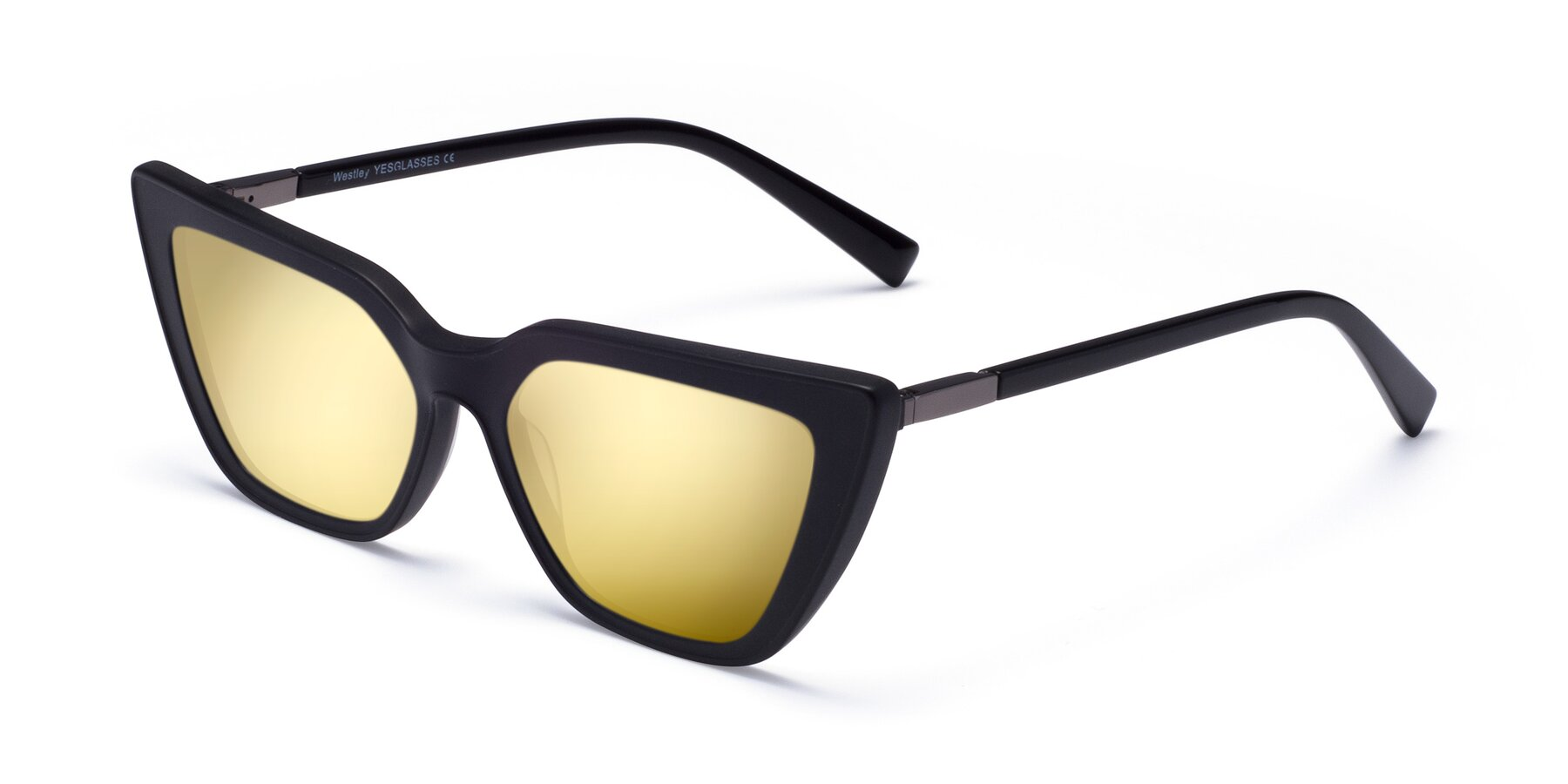 Angle of Westley in Matte Black with Gold Mirrored Lenses