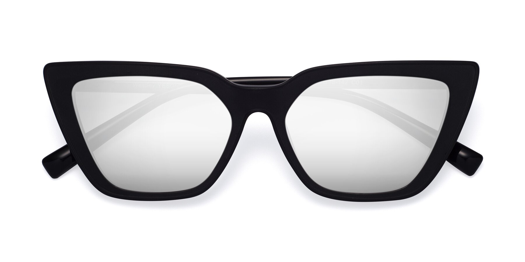 Folded Front of Westley in Matte Black with Silver Mirrored Lenses