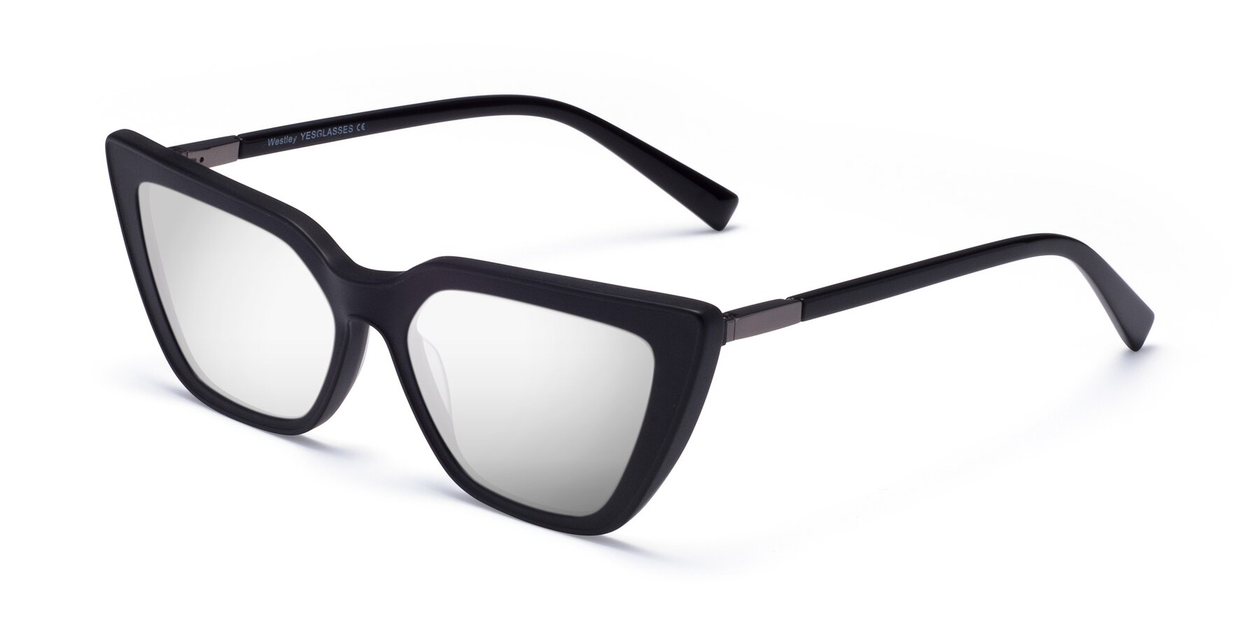 Angle of Westley in Matte Black with Silver Mirrored Lenses