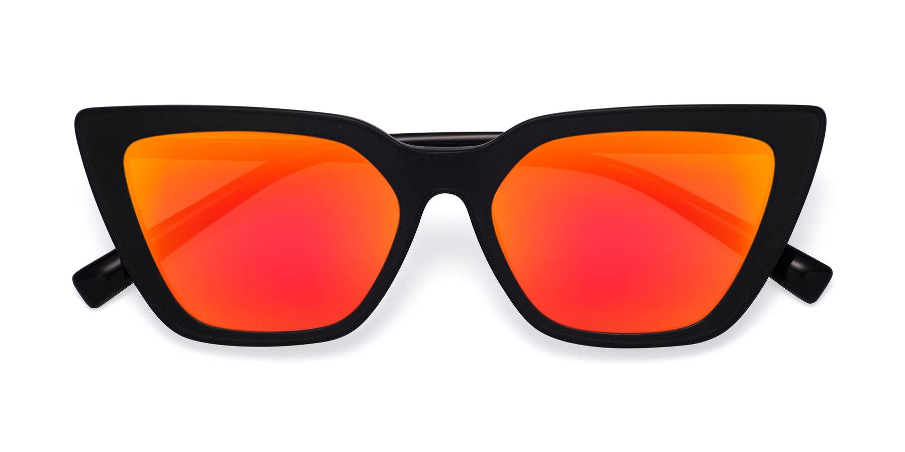 Folded Front of Westley in Matte Black with Red Gold Mirrored Lenses