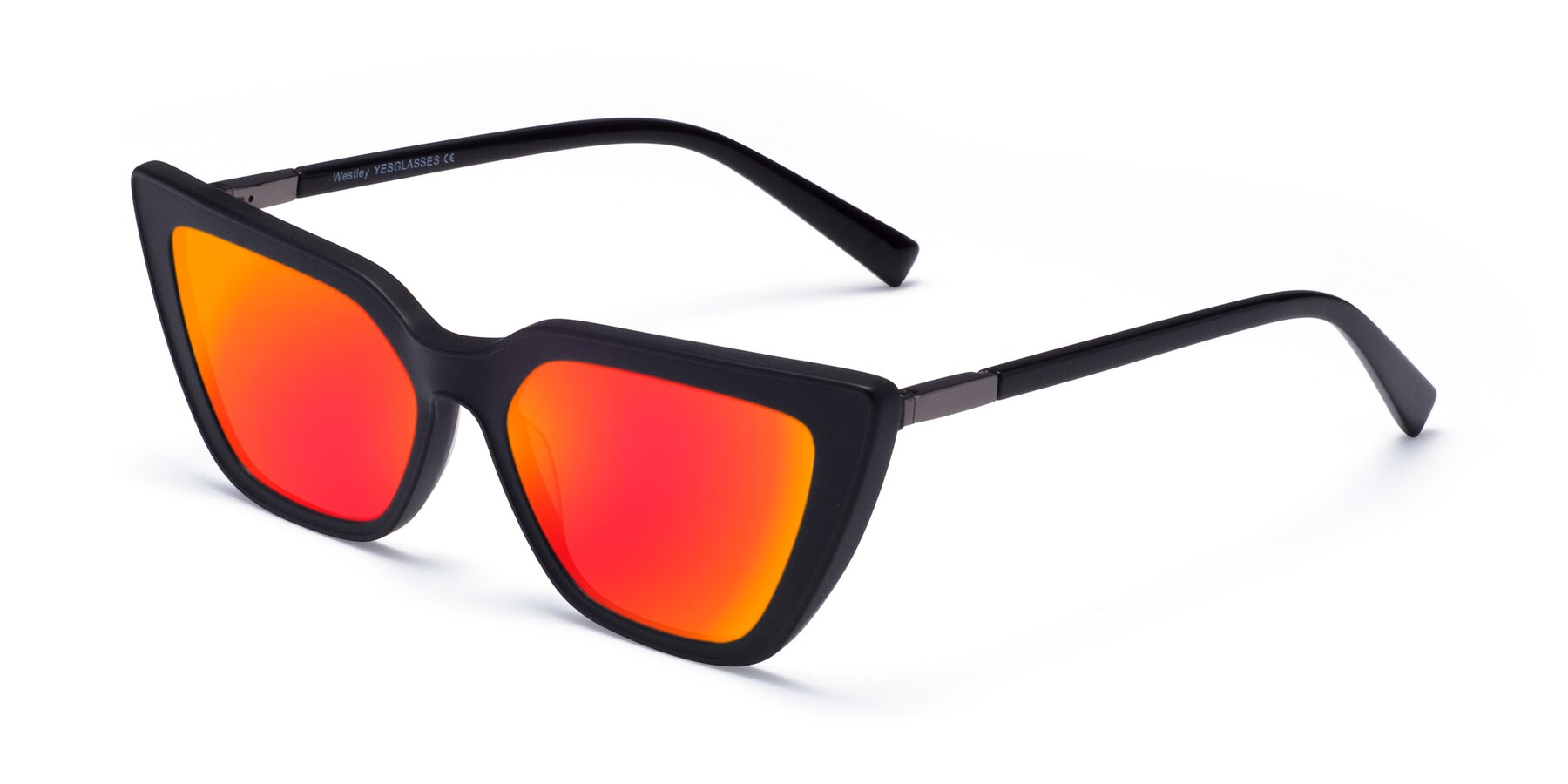 Angle of Westley in Matte Black with Red Gold Mirrored Lenses