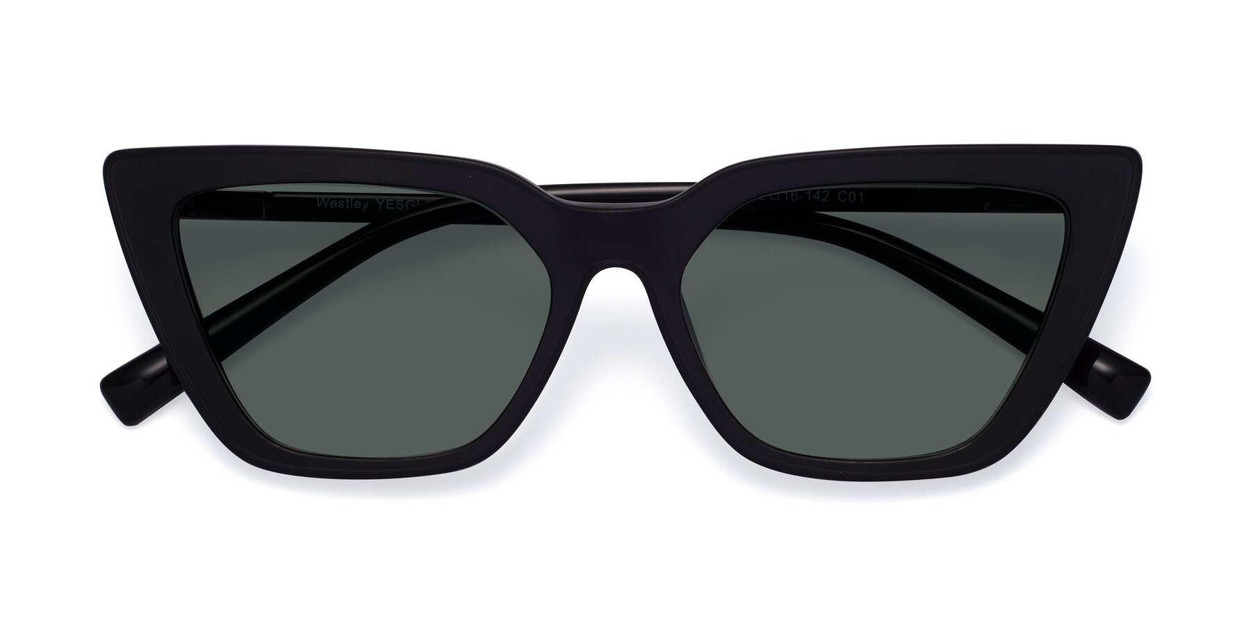 Folded Front of Westley in Matte Black with Gray Polarized Lenses