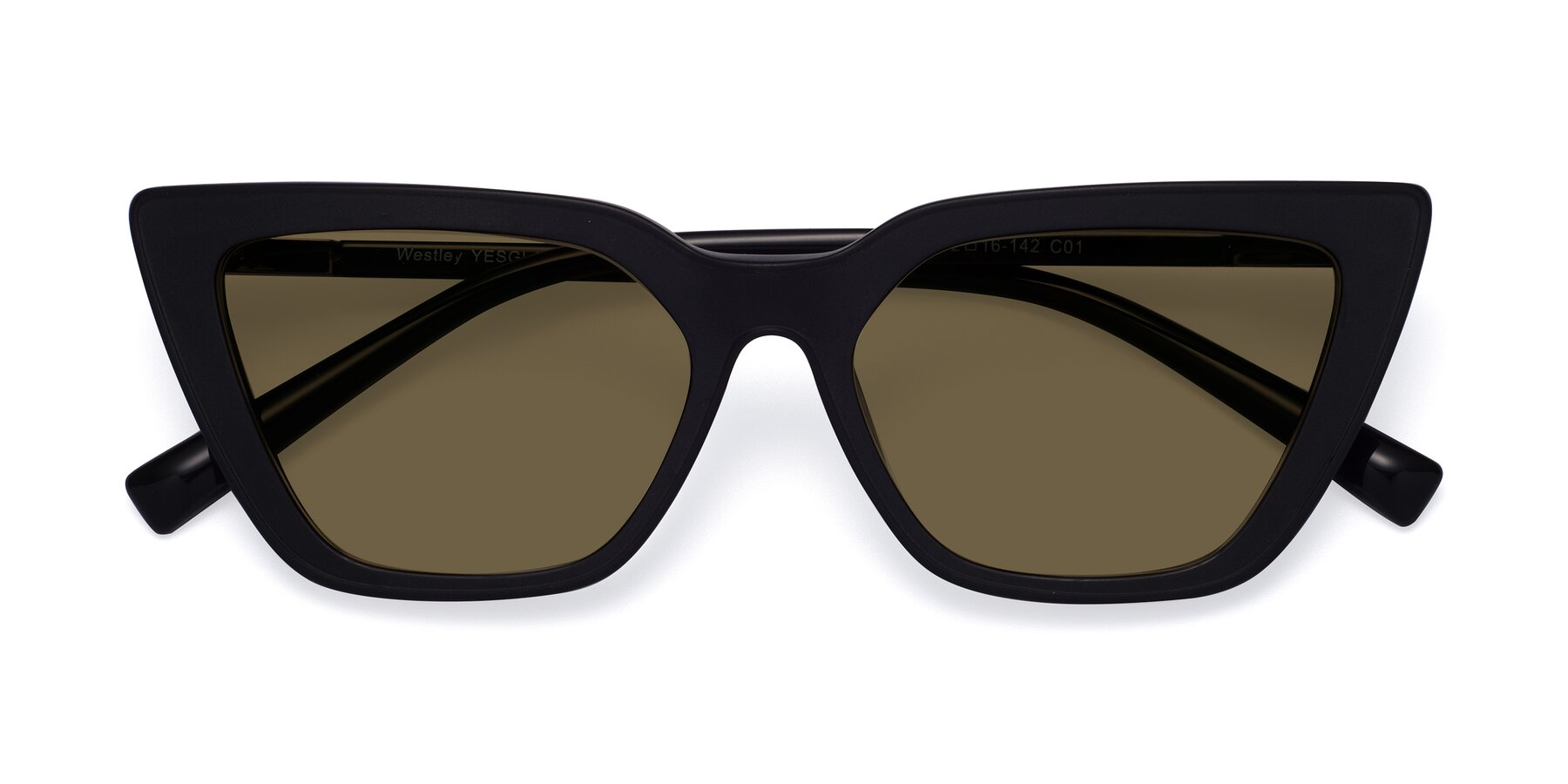Folded Front of Westley in Matte Black with Brown Polarized Lenses